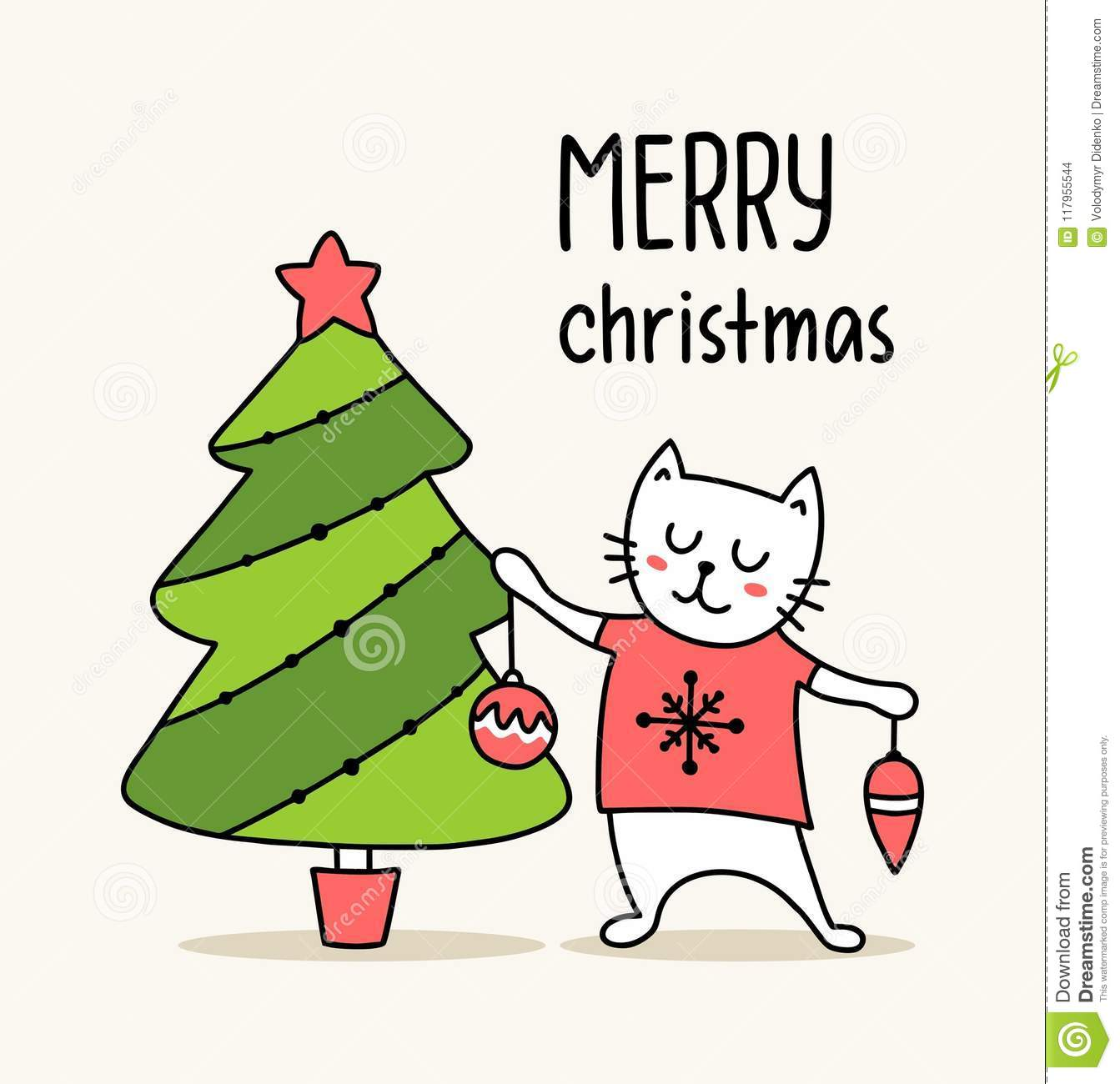Funny White Cat Beside Christmas Tree. Merry Christmas And Happy New ...
