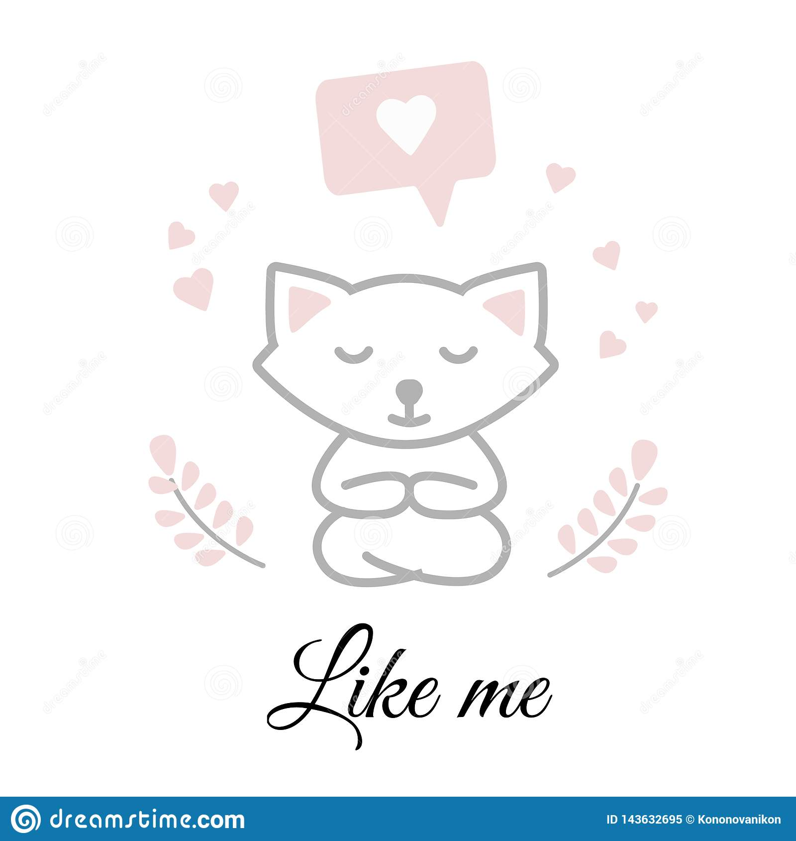 Funny white cat sitting in a yoga pose and meditating. Greeting card for Valentine`s day. Concept-rest, holiday, love, mood
