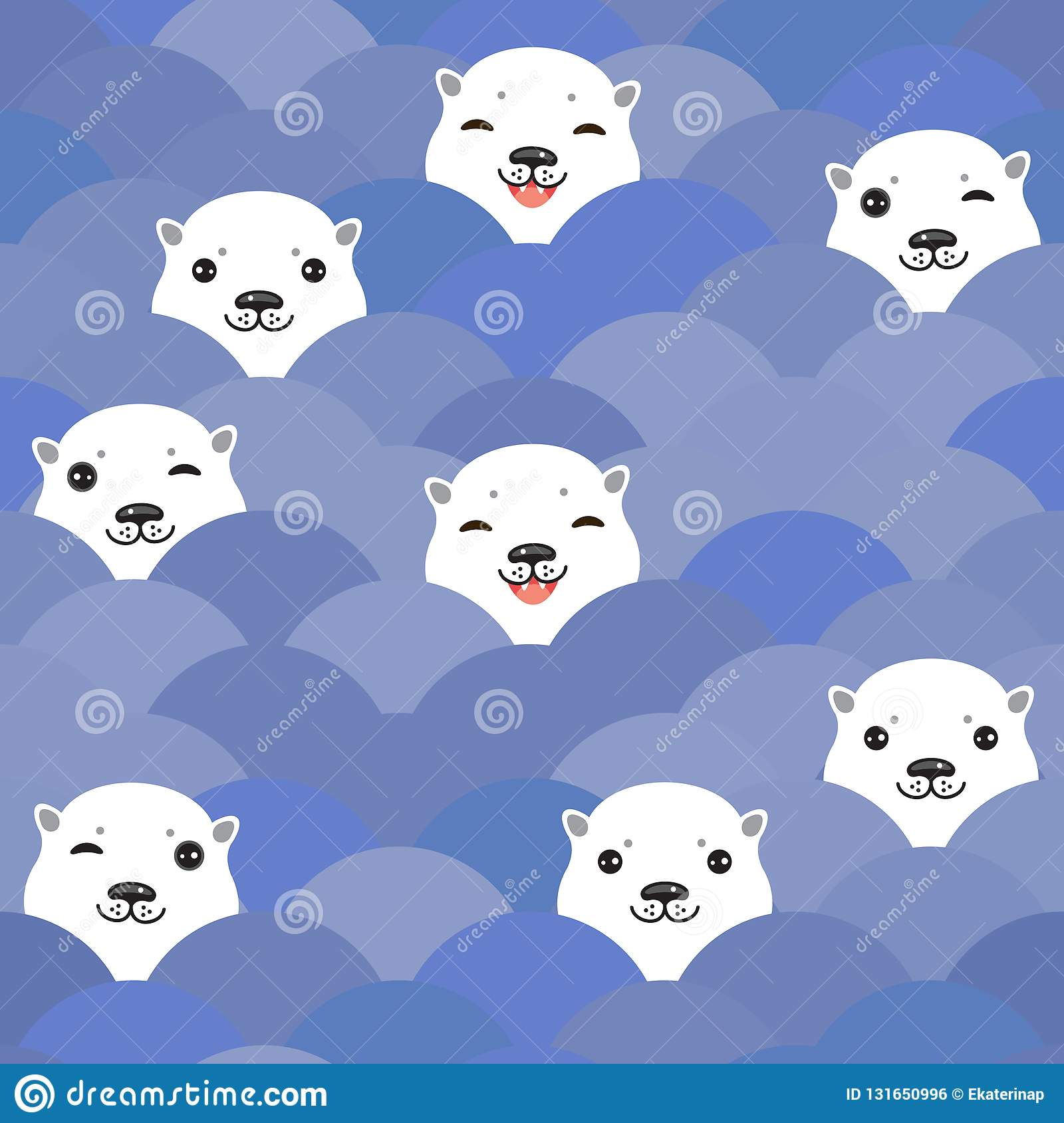 Funny white Polar Bear in blue water, sea waves Seamless pattern, background. Kawaii faces. Vector illustration