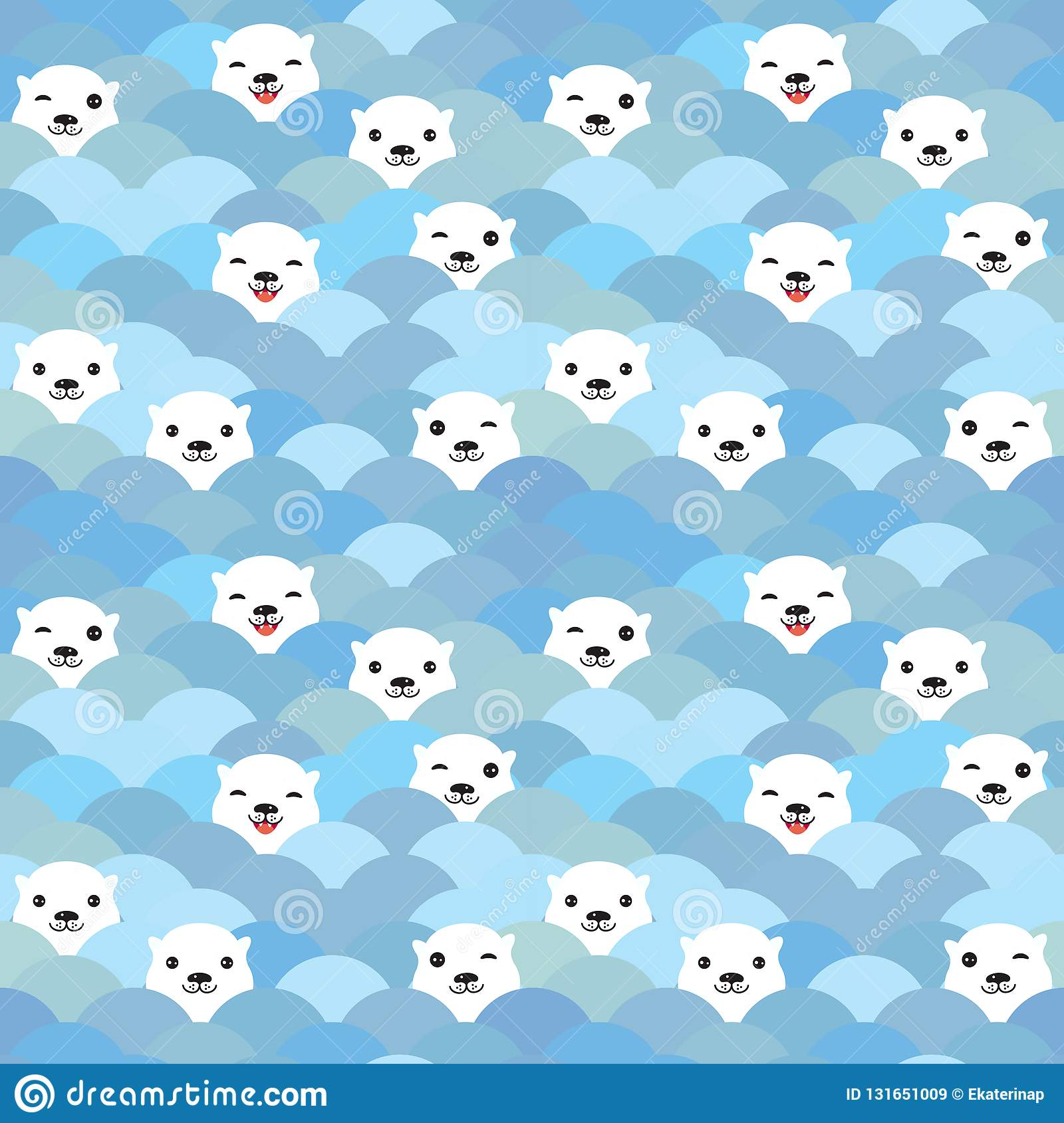 Funny White Polar Bear In Light Blue Water Sea Waves Seamless