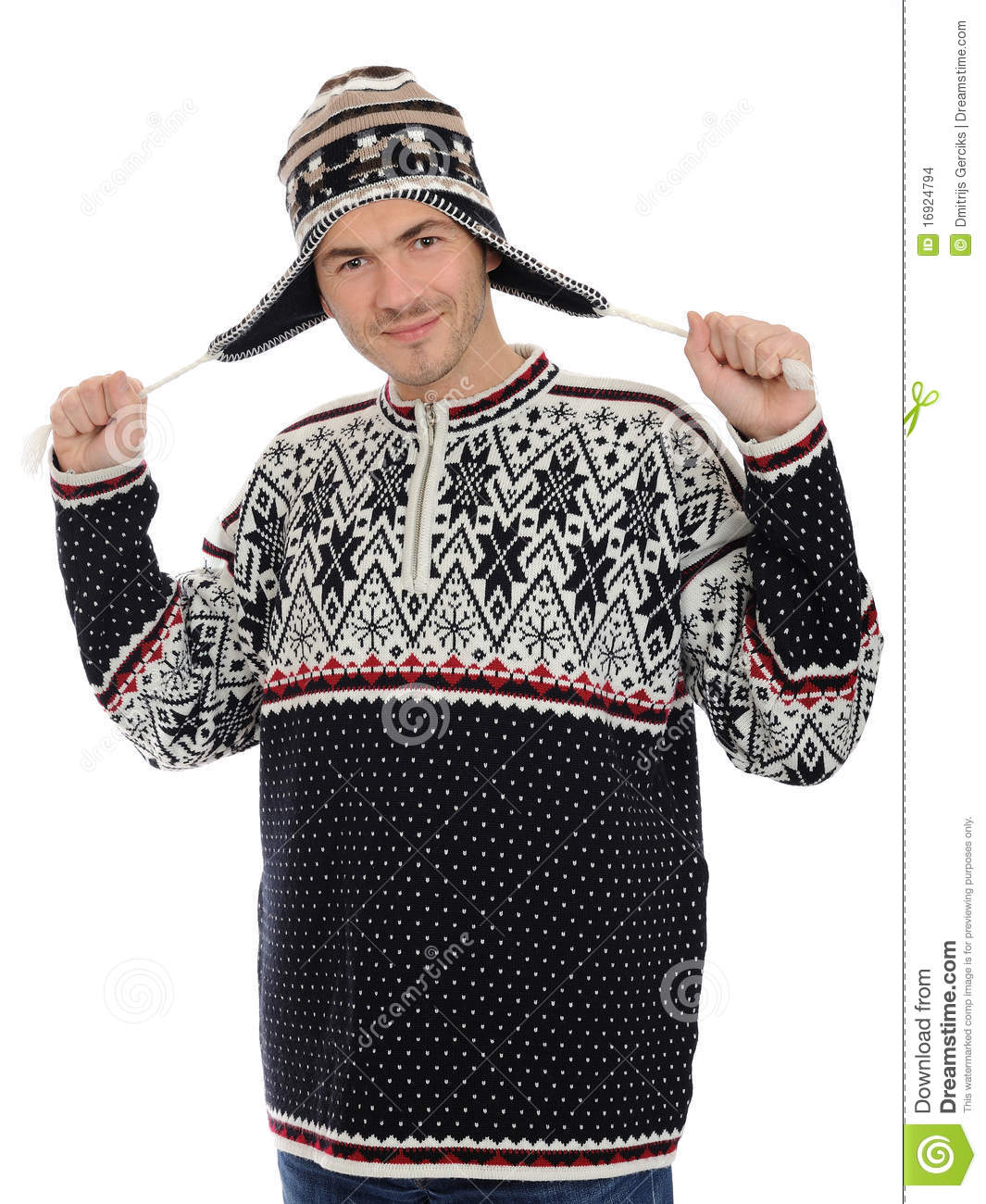 f73adb953 Funny Winter Men In Warm Hat And Clothes. Stock Photo - Image of ...