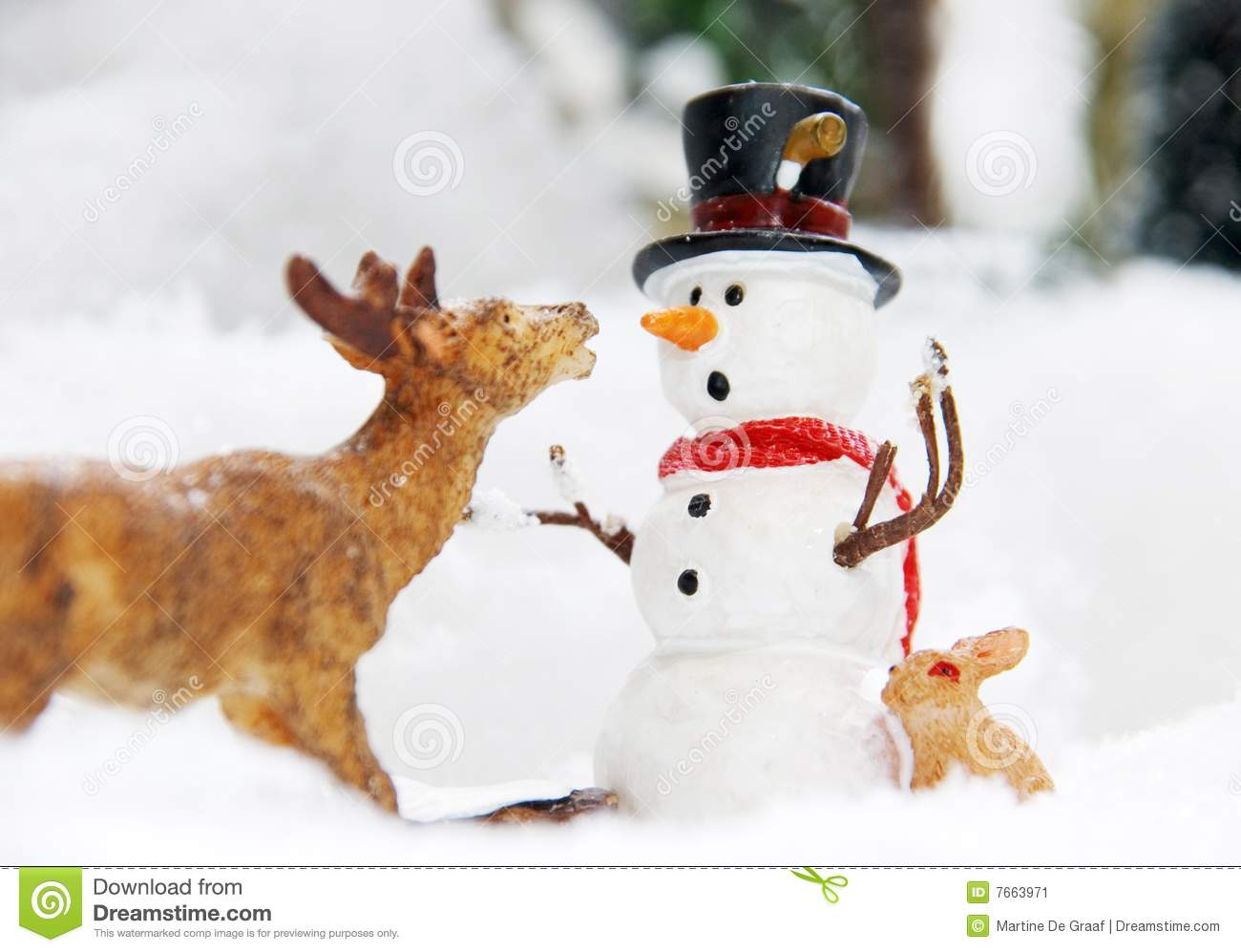 ... of a poly stone snowman and a deer eating the snowmans carrot nose
