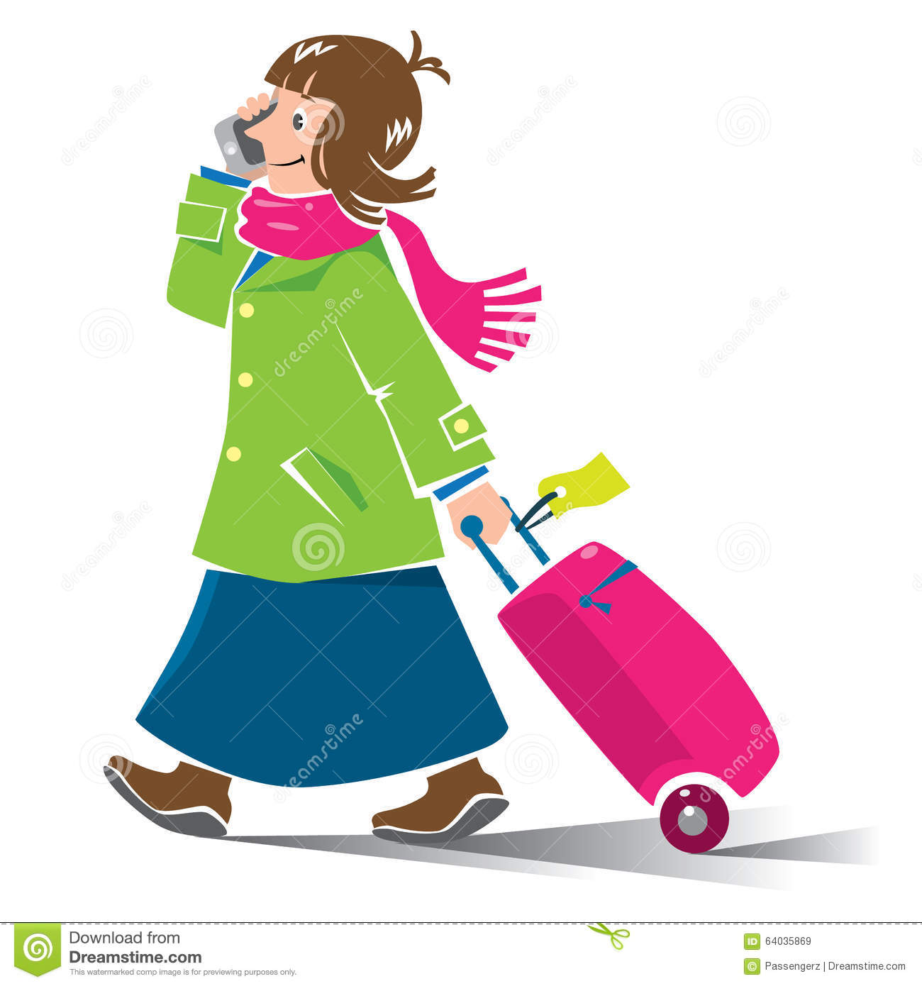 Funny Air Passenger With Suitcase Royalty Free Cartoon
