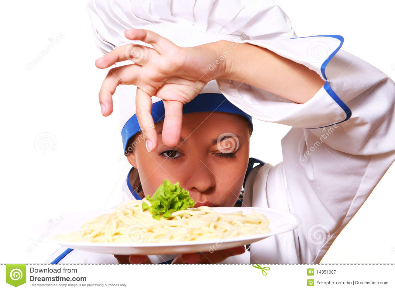Funny woman chef on white