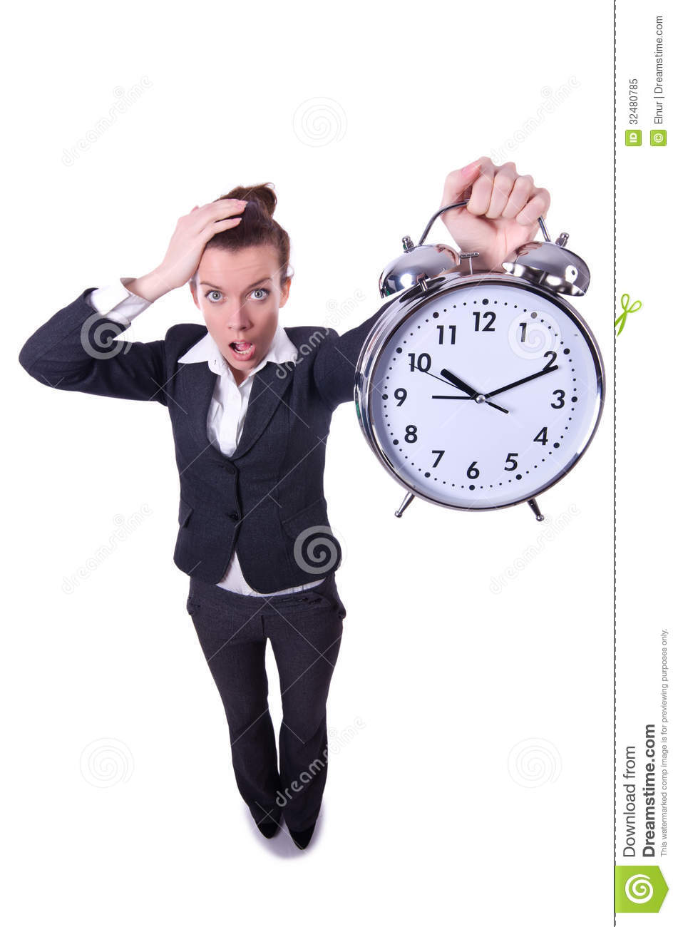 Royalty Free Stock Photo Funny Woman Clock White Image32480785 on Busy Binder