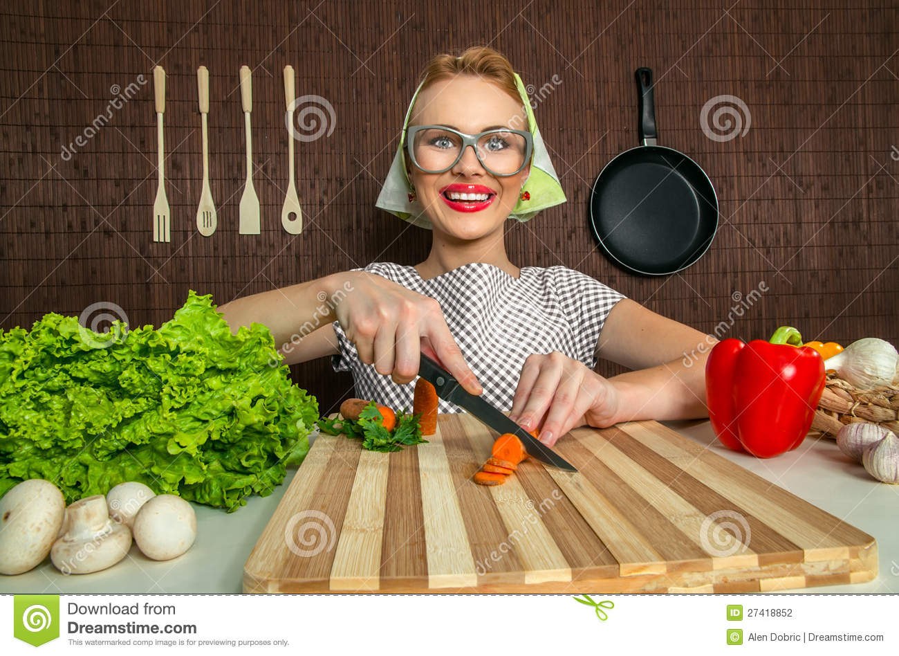 Funny Woman Cook Stock Photo Image Of Cooking Kitchen