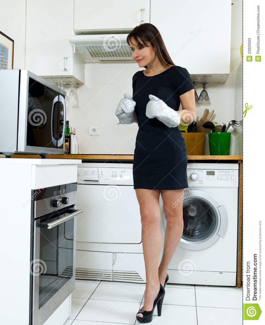 Women Kitchen: Funny Woman Cooking Stock Image. Image Of Cooking