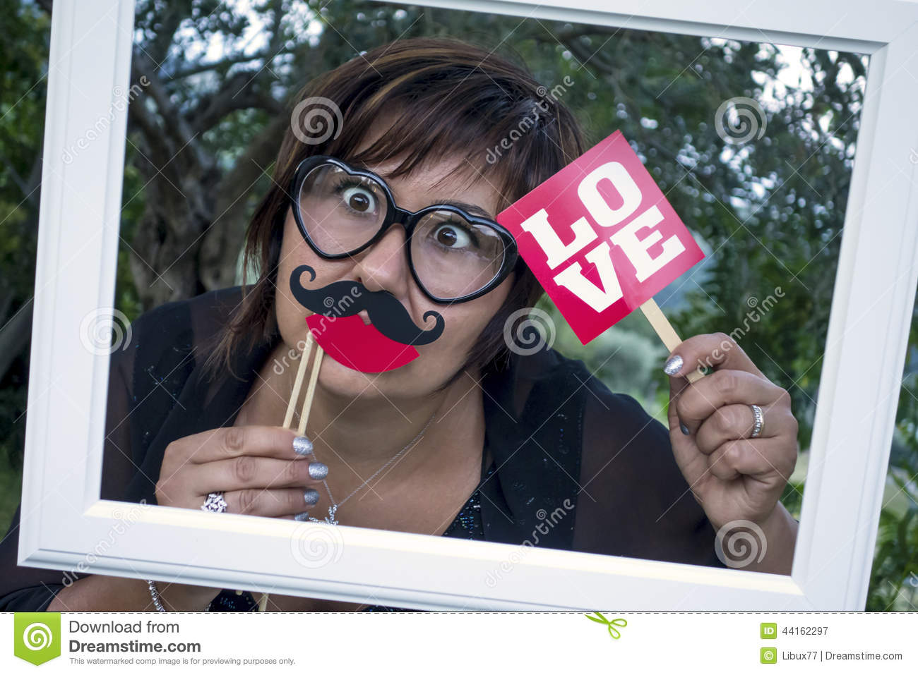 Funny Woman Frame Mustache Love Spectacles