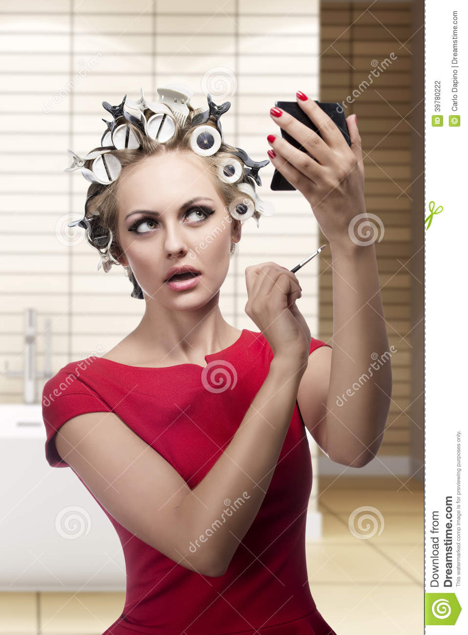 Funny Woman With Hair Rollers Stock Photo - Image: 39780222
