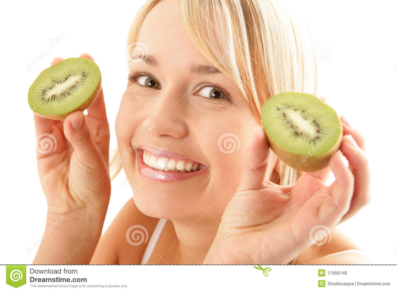 Funny woman with kiwi