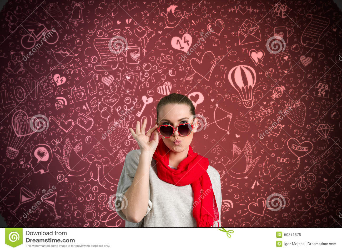 Stock Illustration Funny woman over valentine s background