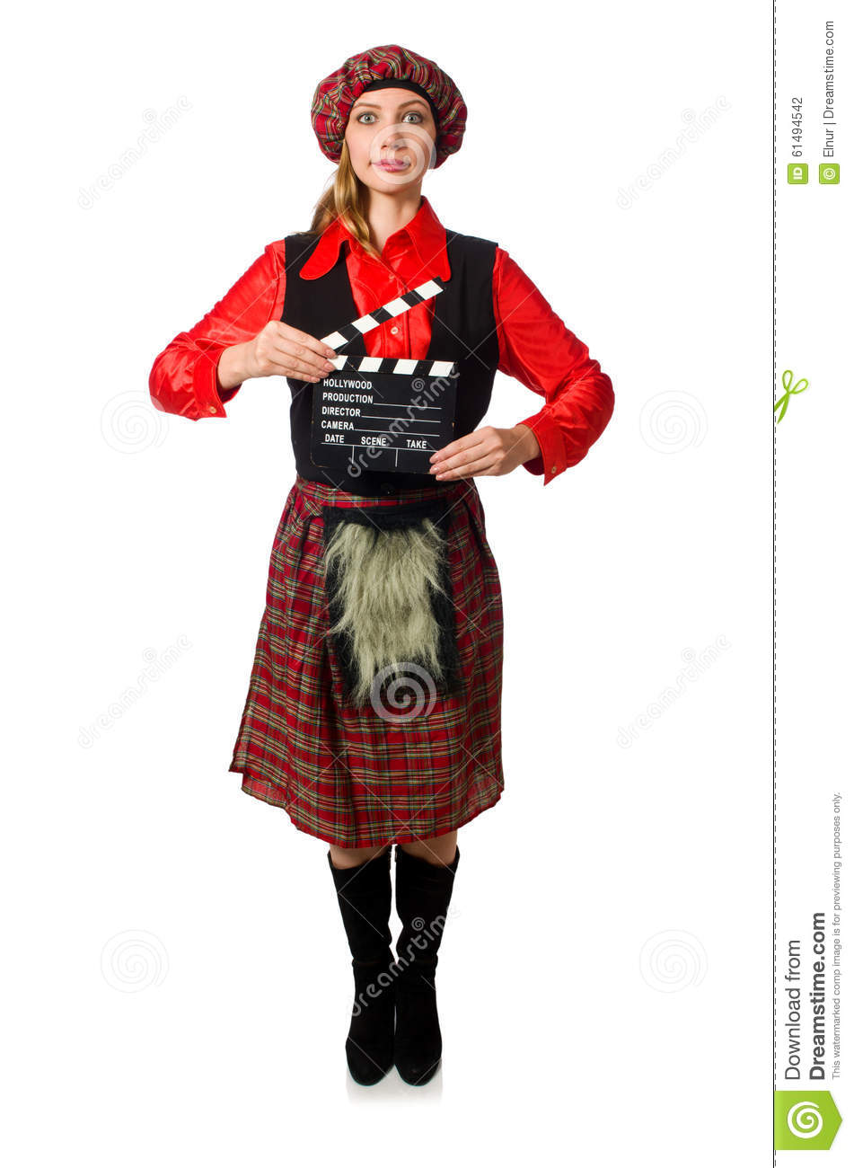 Download comp  sc 1 st  Dreamstime.com & The Funny Woman In Scottish Clothing With Movie Stock Photo - Image ...