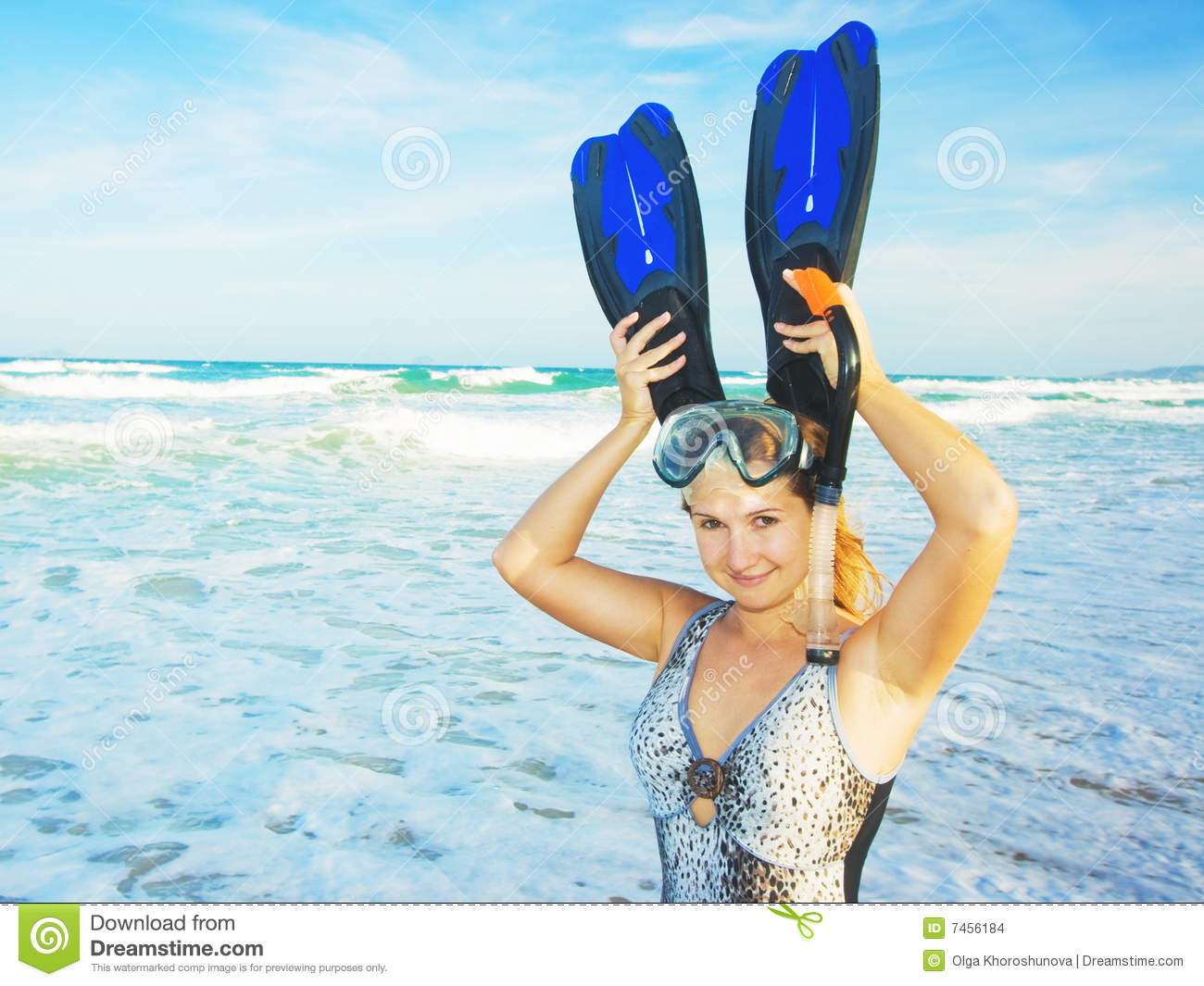 Funny Woman With Snorkeling Equipment The Beach