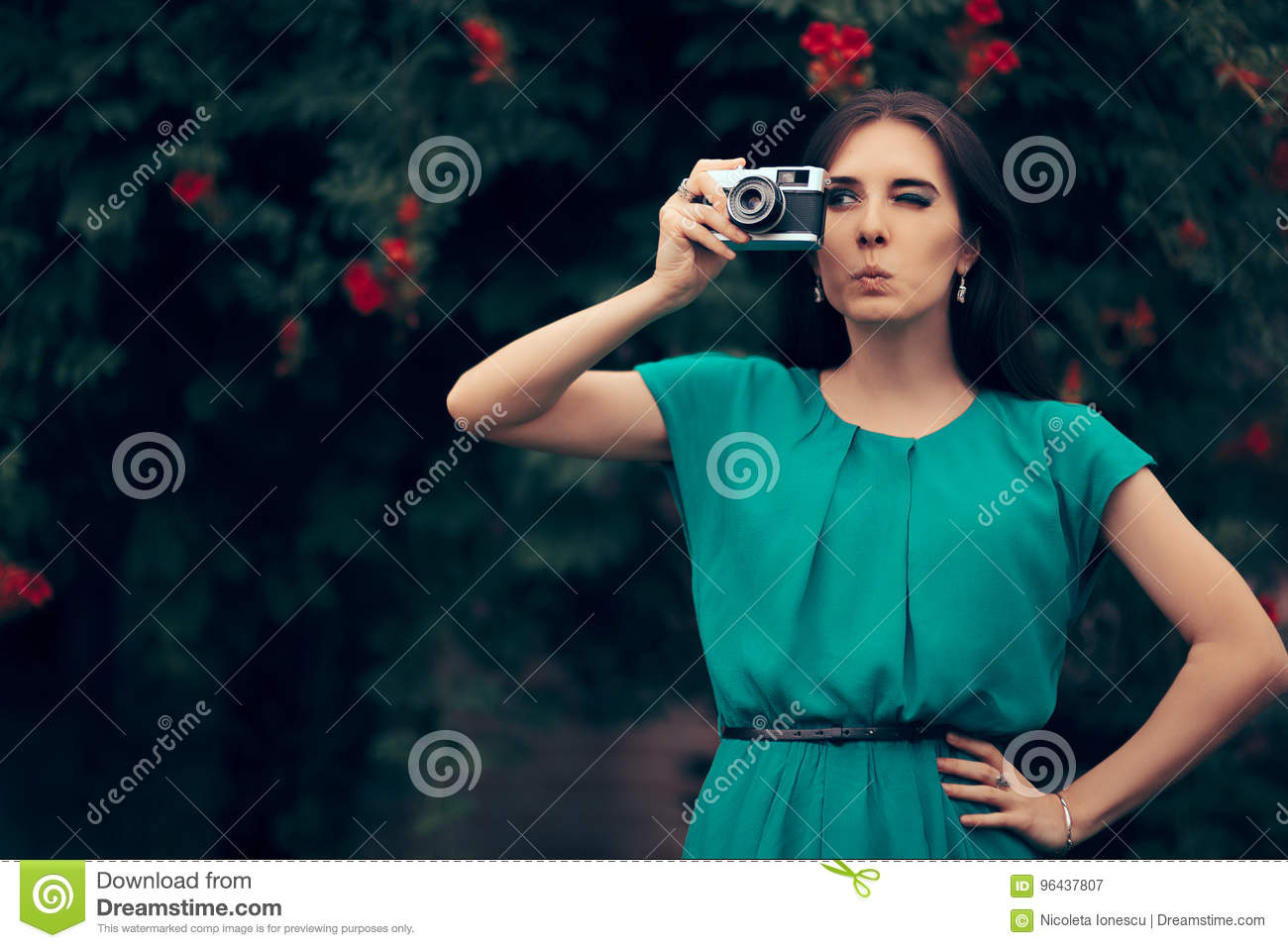 Funny Woman With Vintage Camera At A Garden Party Event Stock Image ...