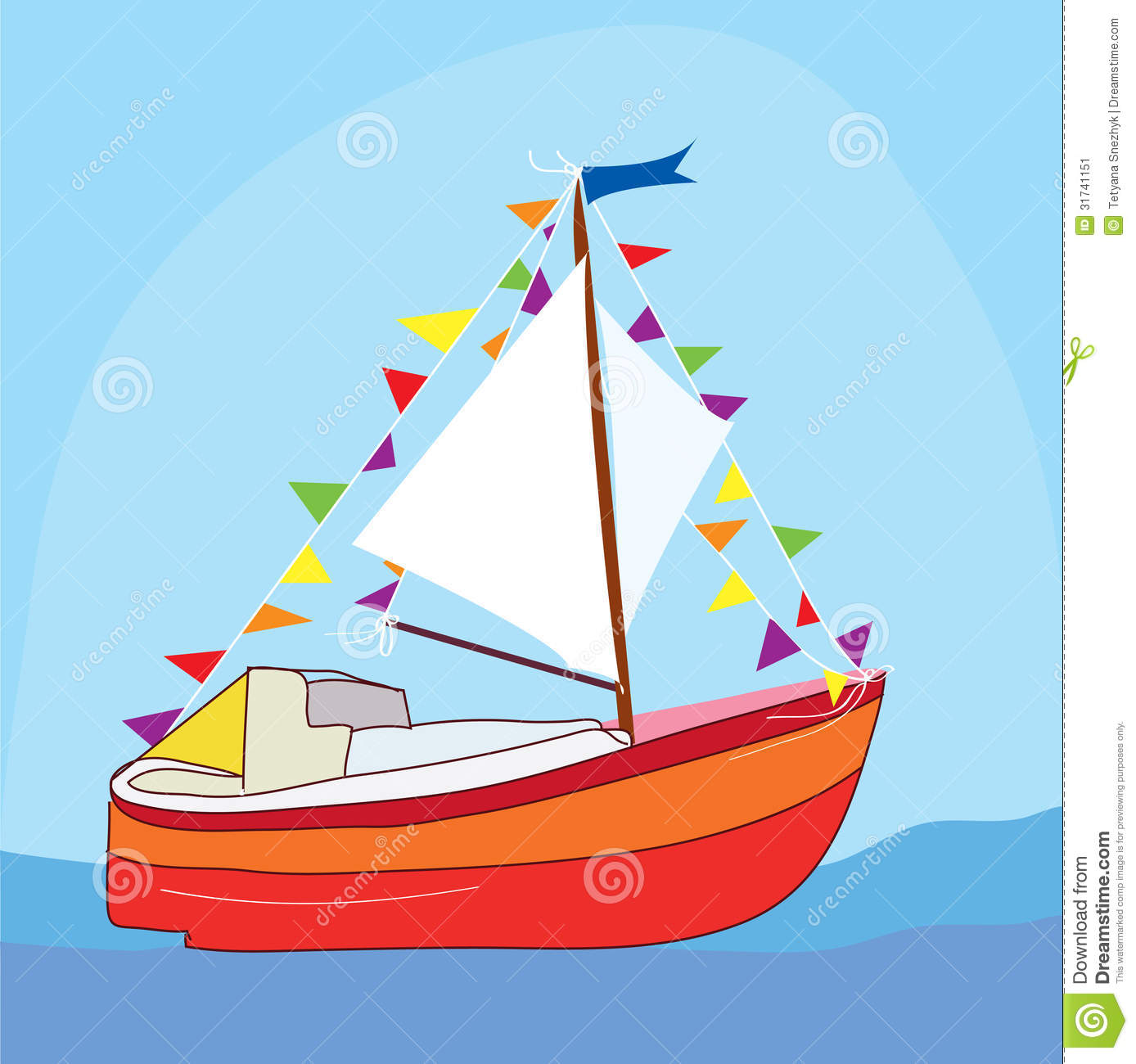 Funny yacht at the sea stock vector. Image of ocean, maritime - 31741151