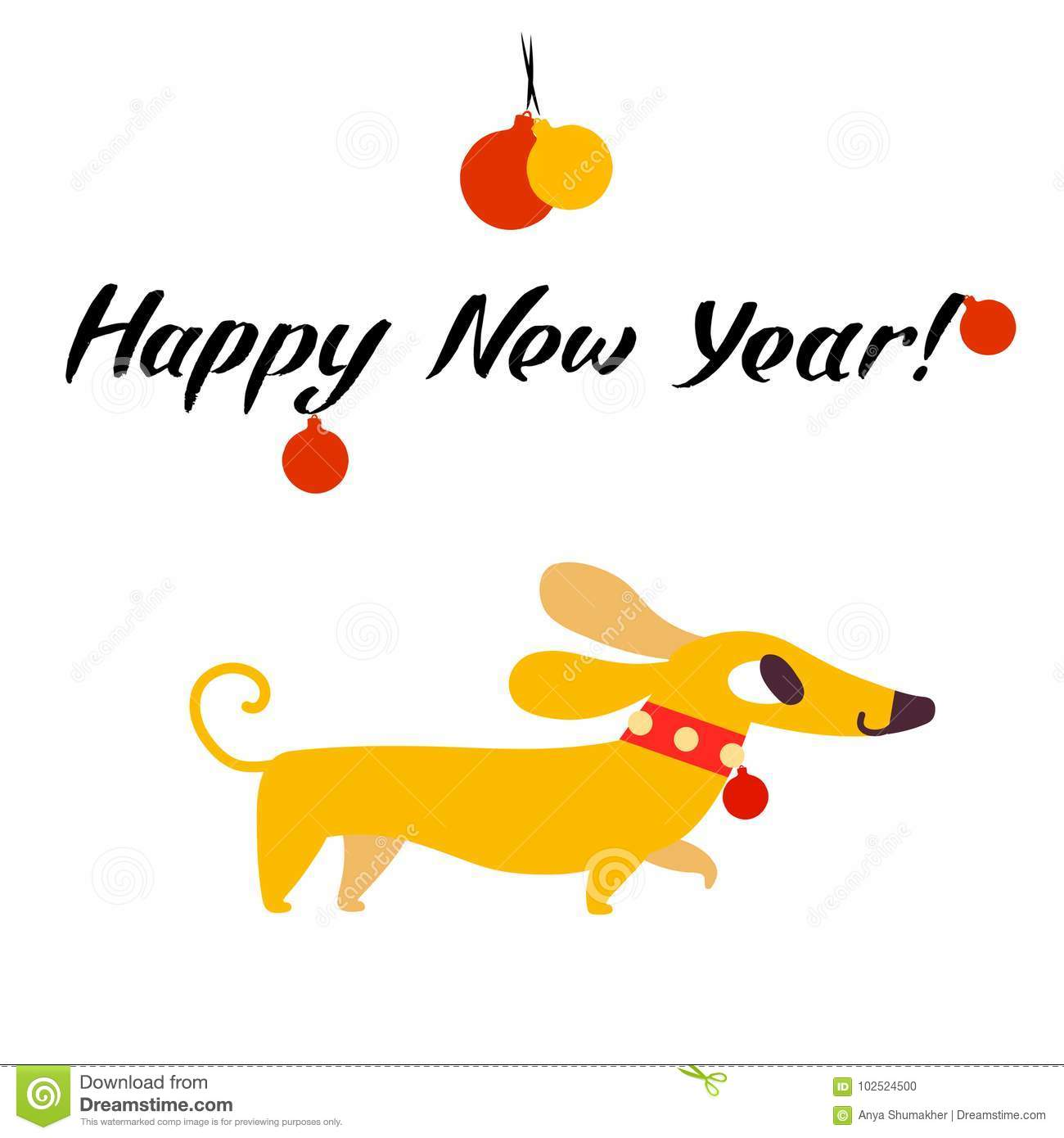 Funny Yellow Dog Symbol Of Year 2018. Flat Style, Illustration ...