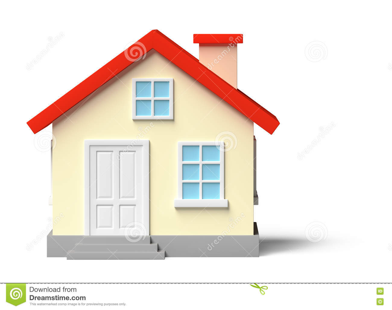 Funny yellow house isolated on white stock illustration for Yellow and red house
