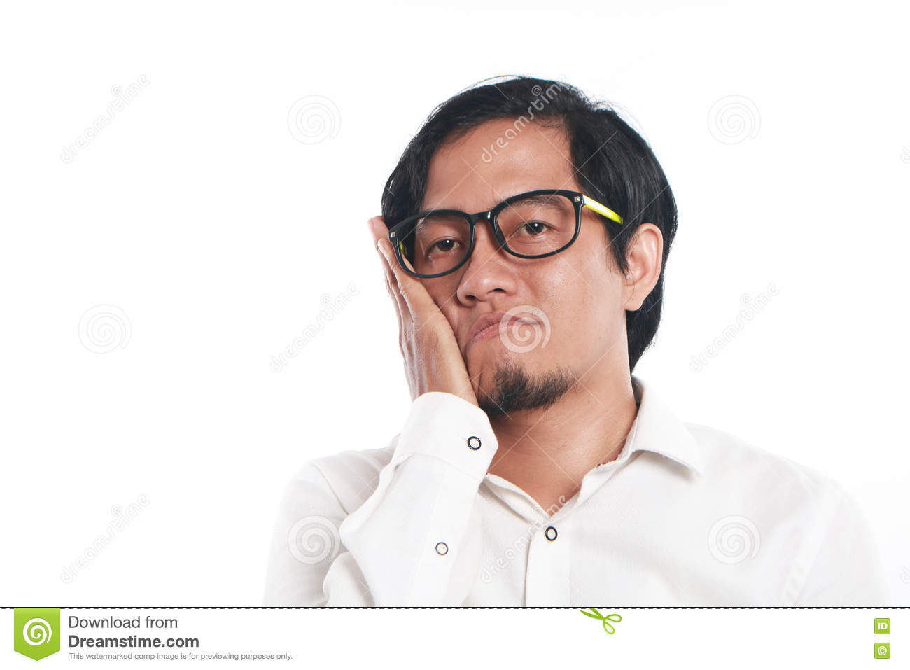 Funny Young Asian Businessman Looked Very Bored