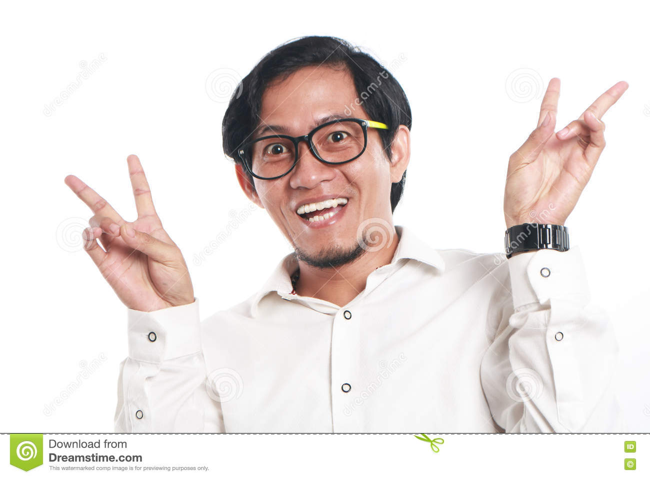 Funny Young Asian Businessman Looked Very Happy