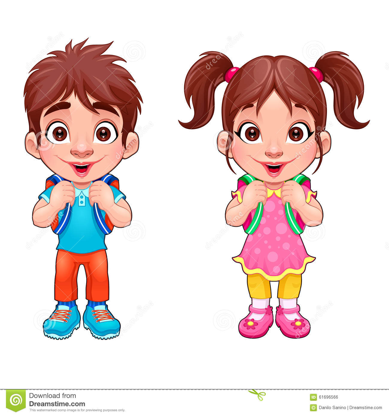 4 Girl Cartoon Characters : Funny young boy and girl students stock vector