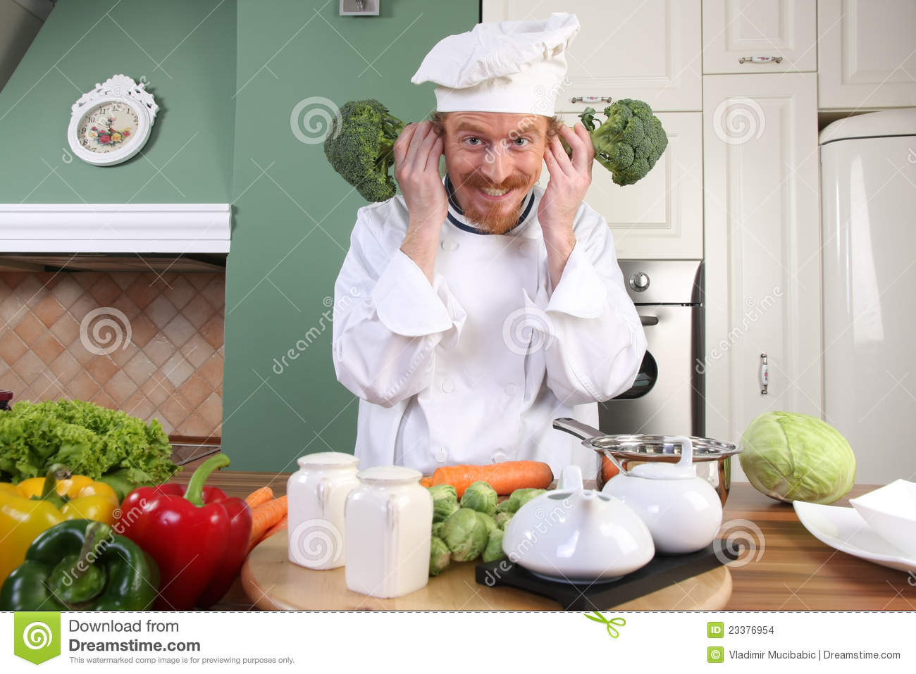 Thai Kitchen Design Funny Young Chef With Broccoli Stock Images Image 23376954
