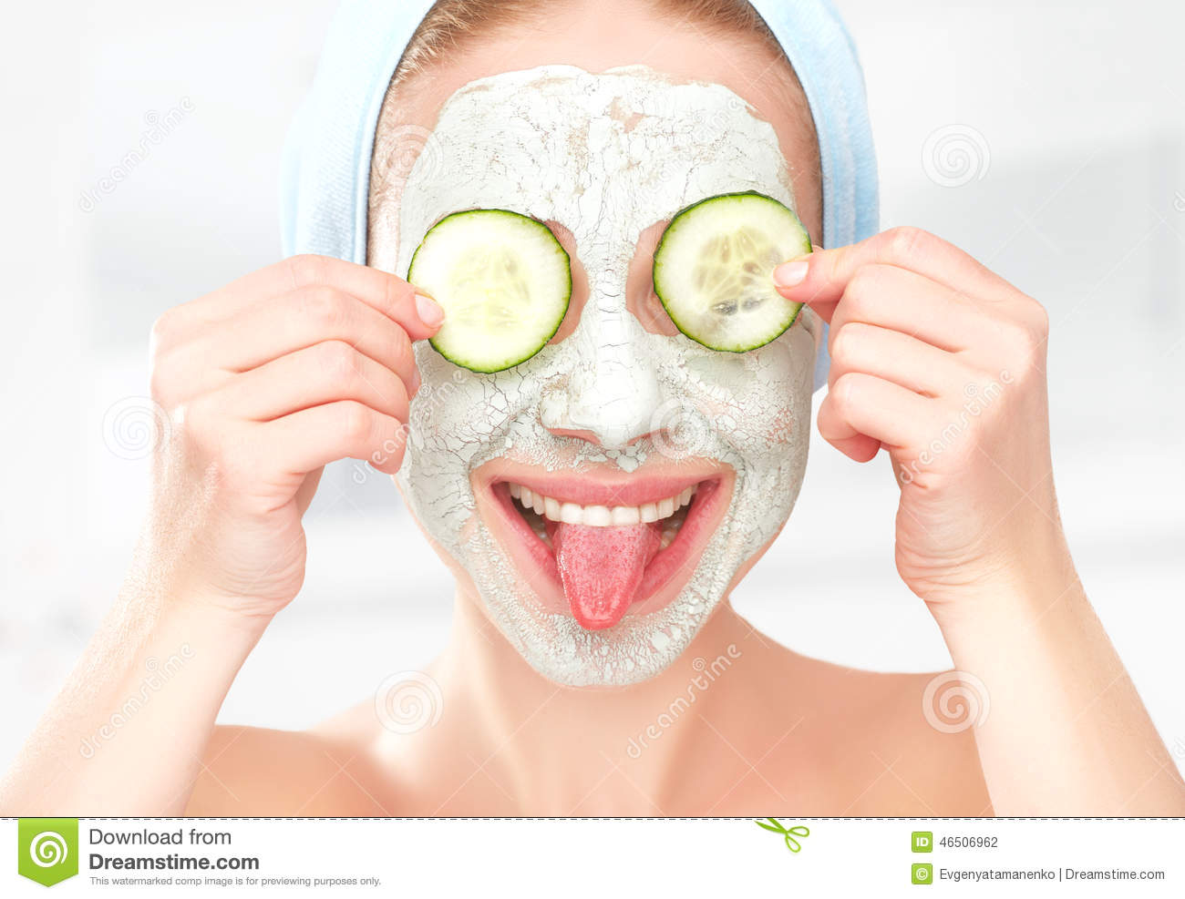 funny young girl with a mask for skin face and cucumbers stock photo image 46506962. Black Bedroom Furniture Sets. Home Design Ideas