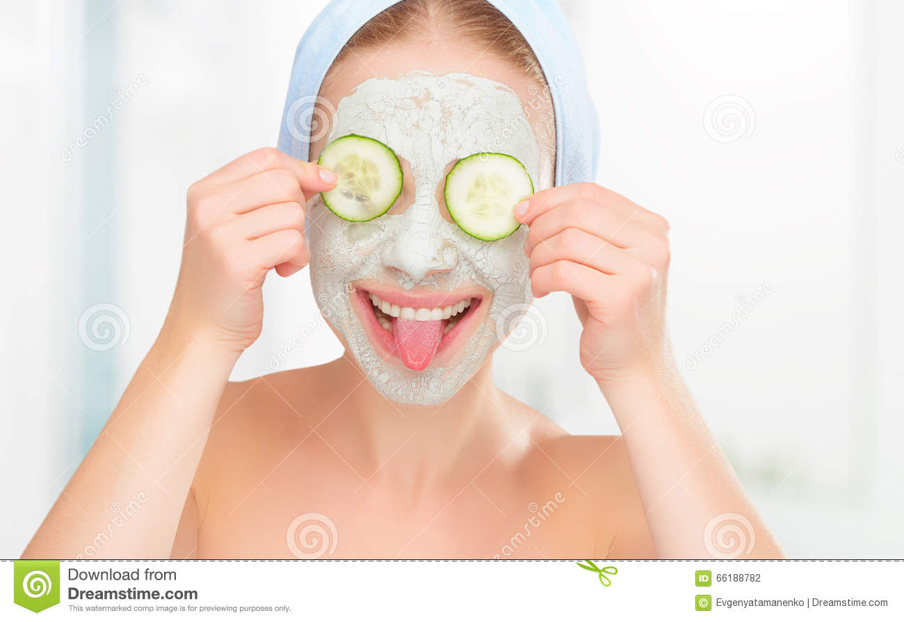Skin Stock For Girl With Face A Cucumbers Mask And Funny Young