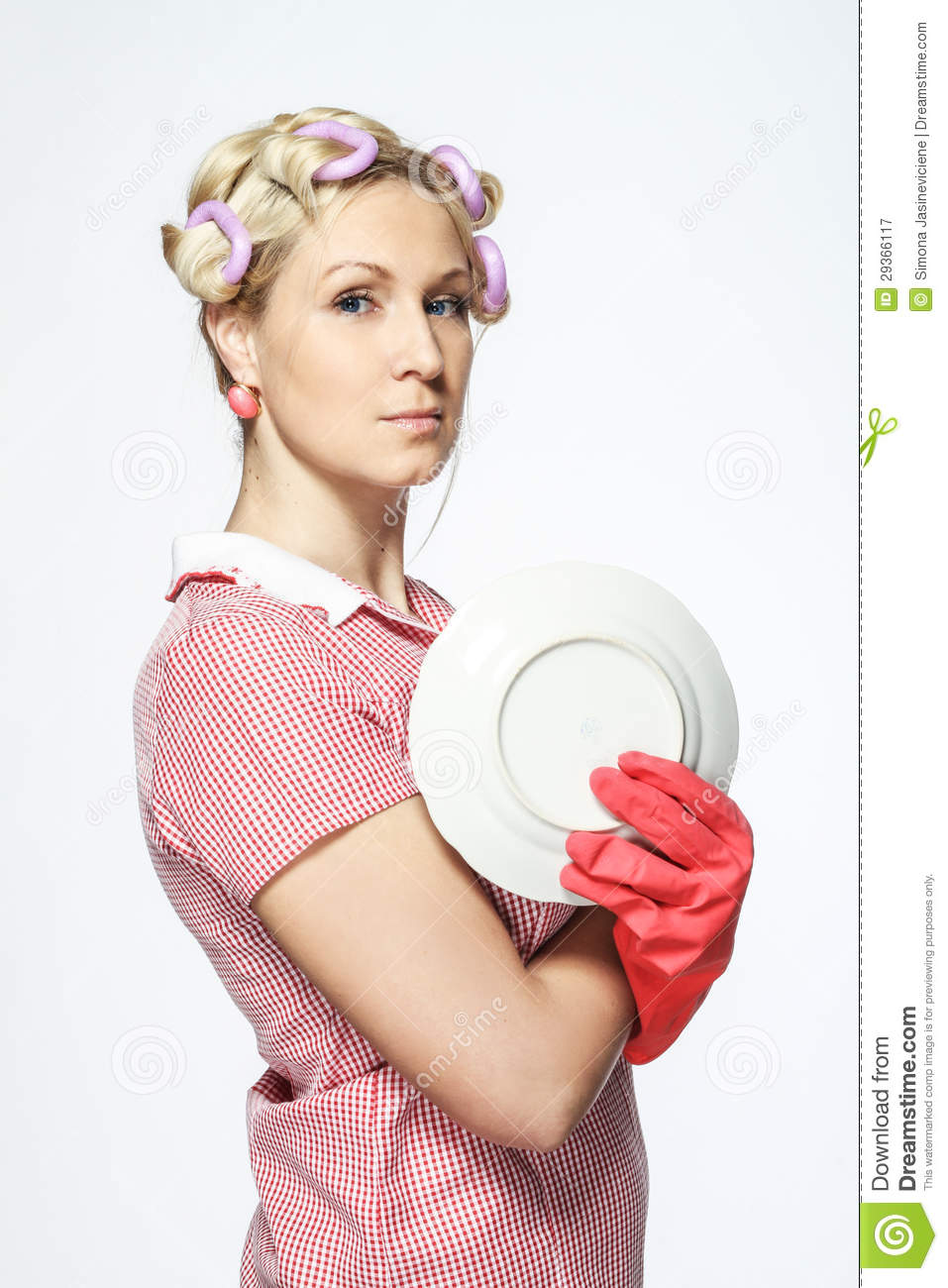 Funny Young Housewife With Gloves On White Background