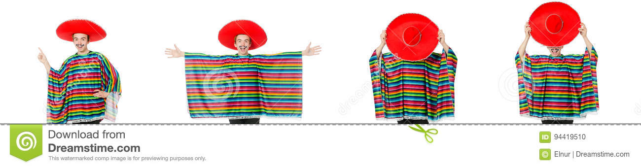 The funny young mexican with false moustache isolated on white