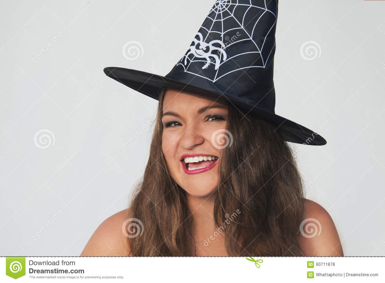 Funny Young Woman In Halloween Witch Hat Stock Photo - Image: 60711878