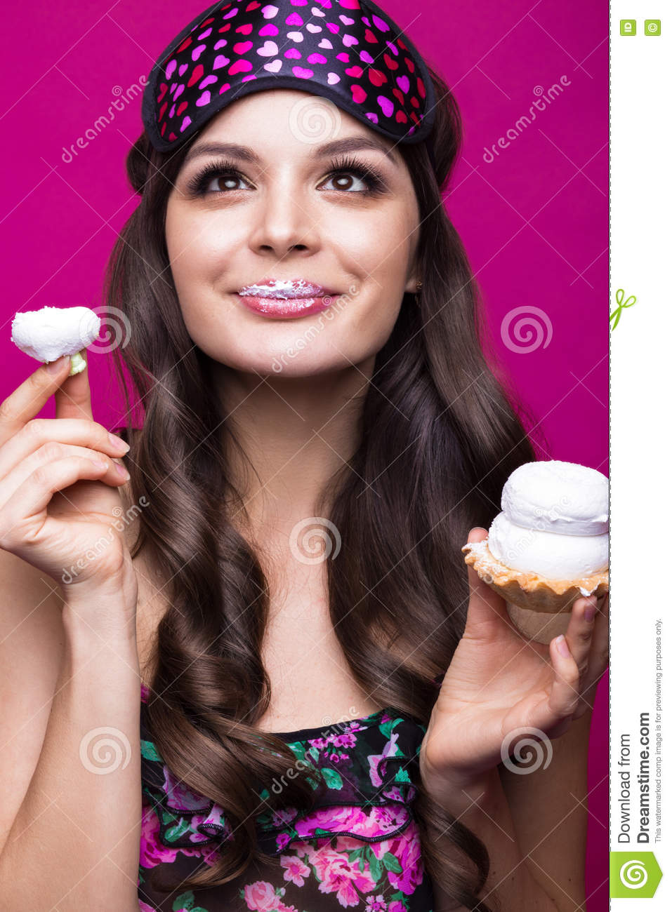 Funny Young Woman In Sleeping Mask And Pajamas, Sweets On ...