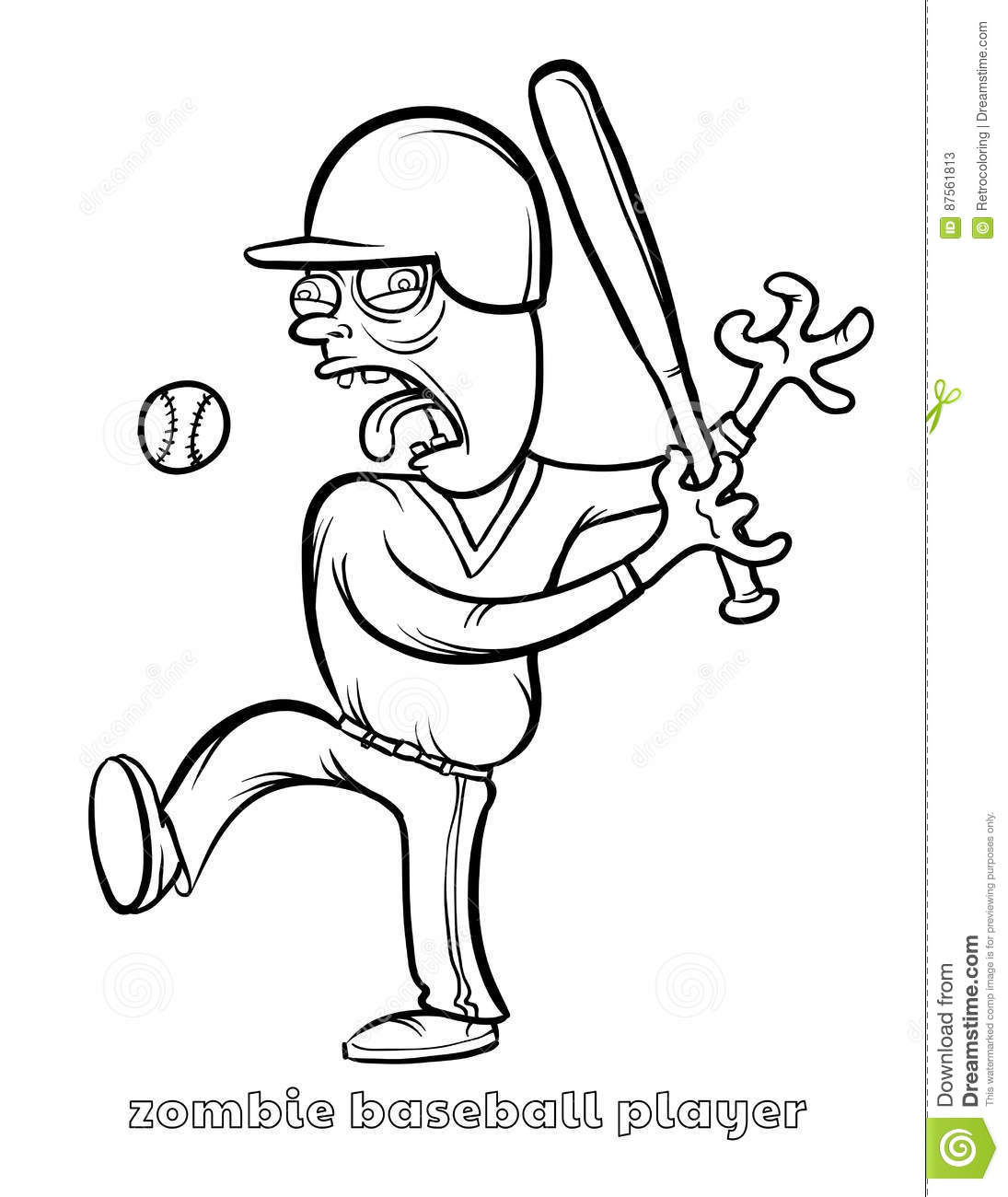 Funny Zombie Baseball Player Coloring Page Stock Vector ...