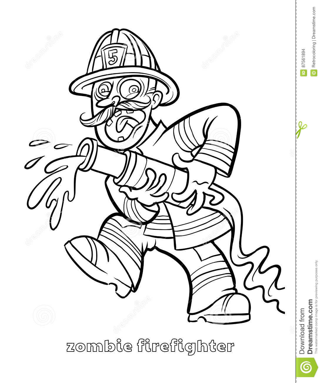Funny Zombie Firefighter Coloring Page Stock Vector - Illustration ...