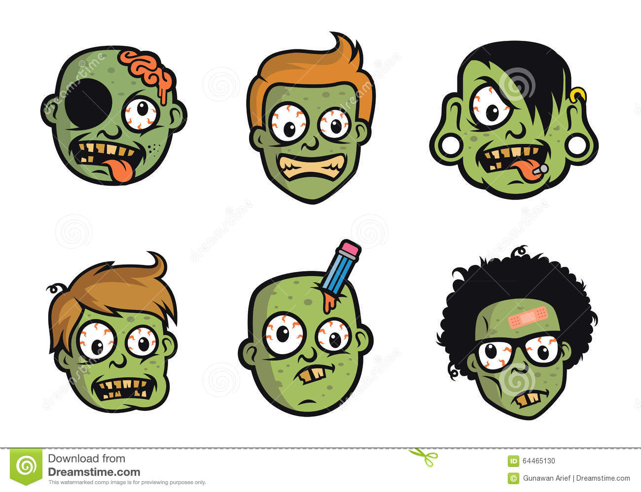 Character Design Zombie : Funny zombie head character design stock vector image