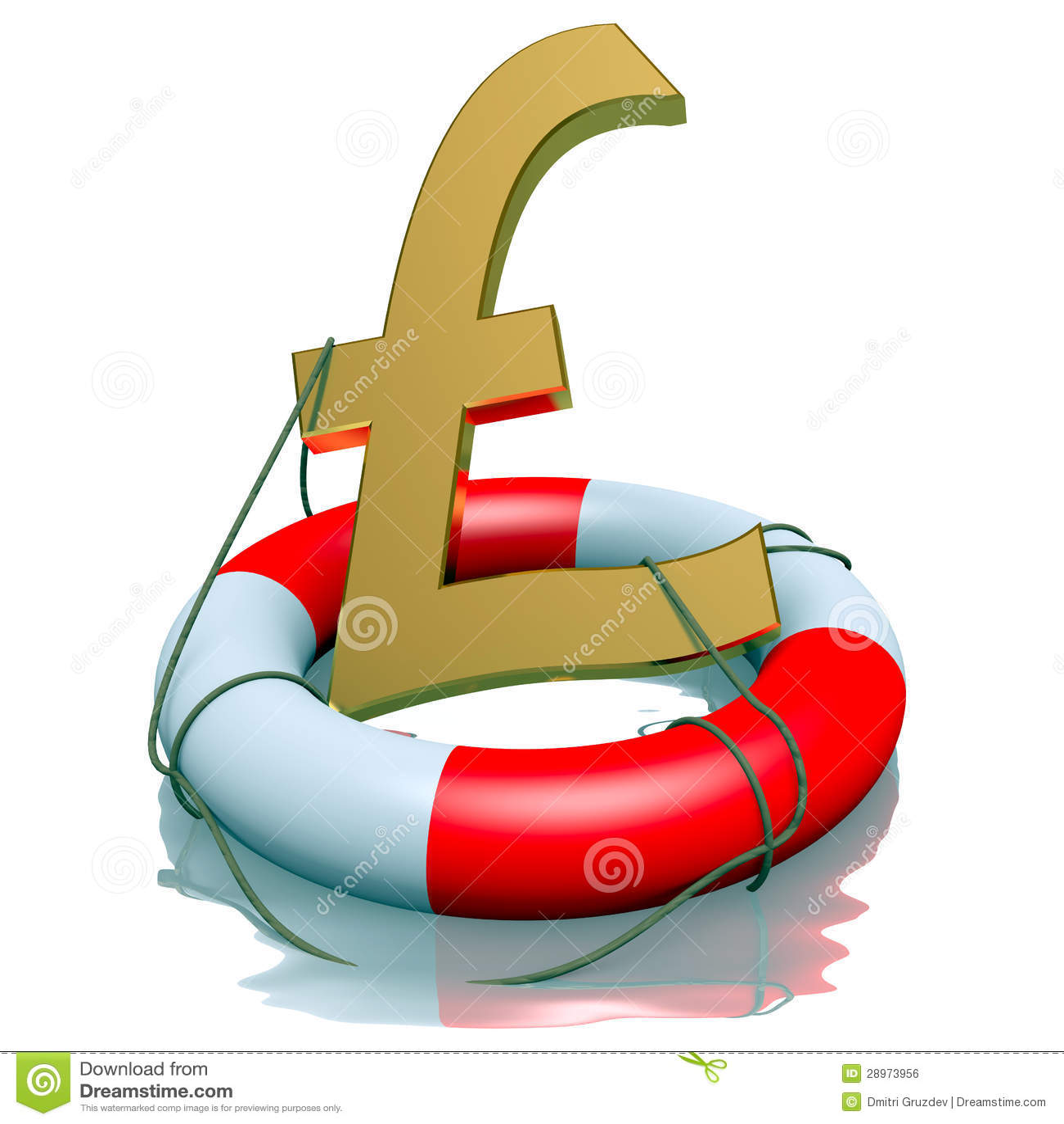 Funtowi sterlings symbolu w lifebuoy