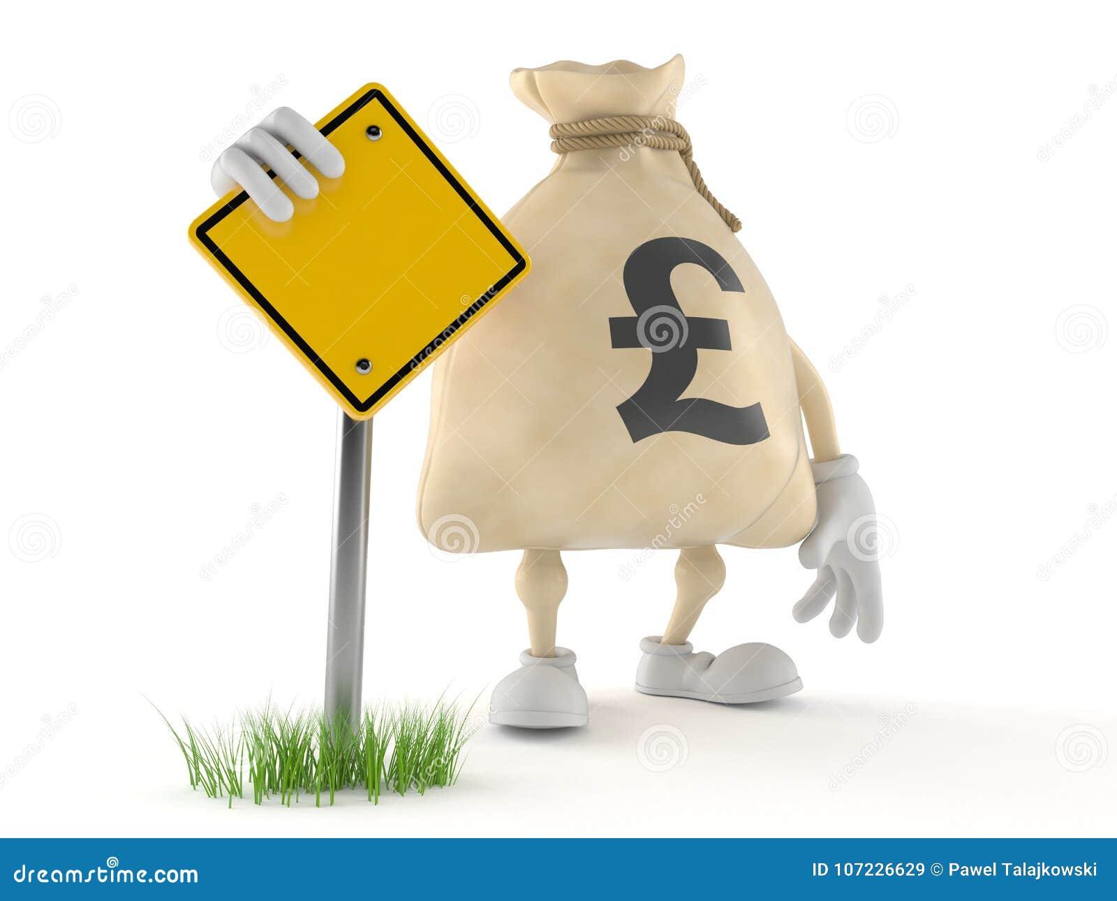 Funtowy pieniądze torby charakter z pustym drogowym znakiem