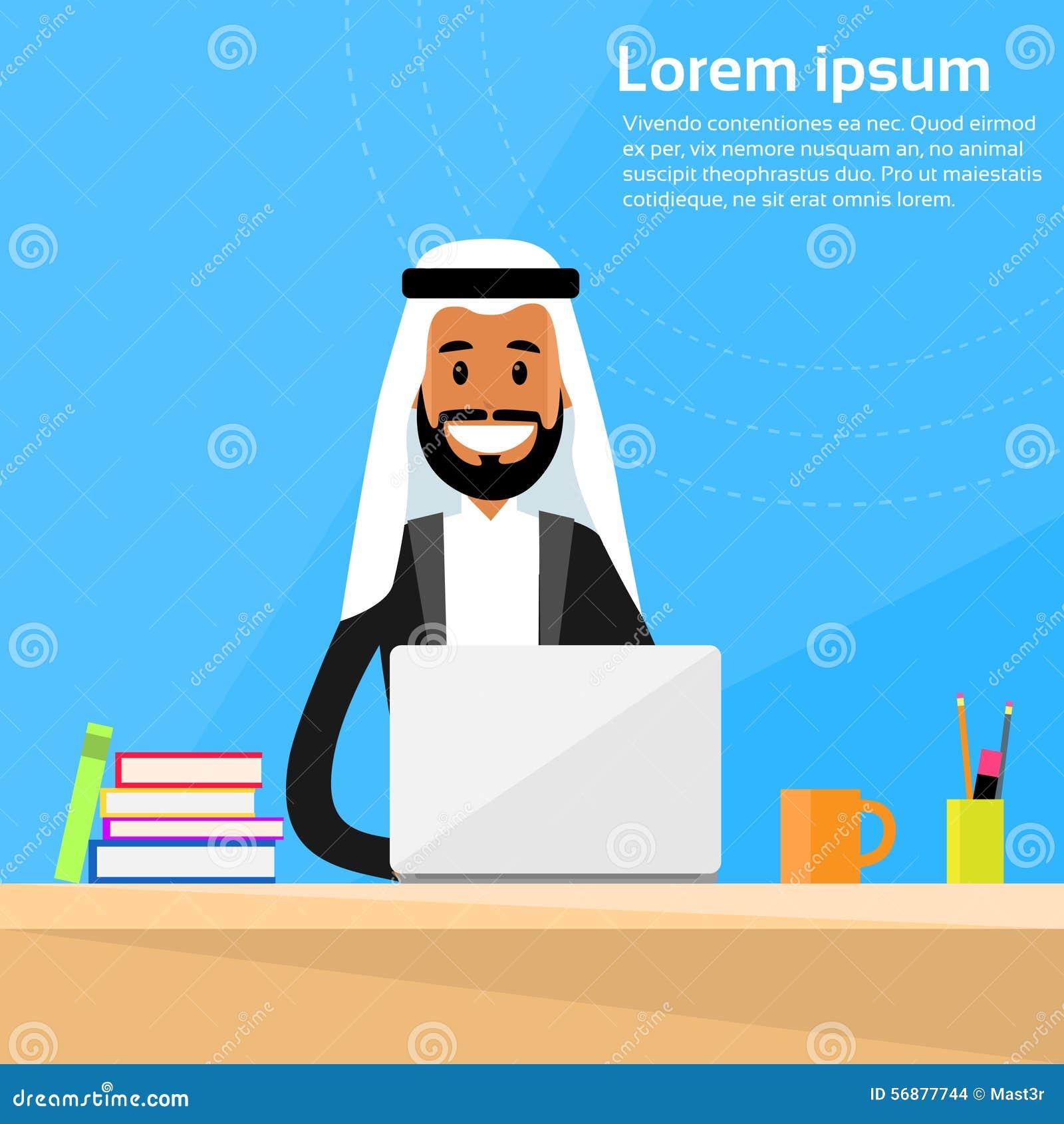 Funzionamento arabo di Sitting Office Desk dell uomo d affari