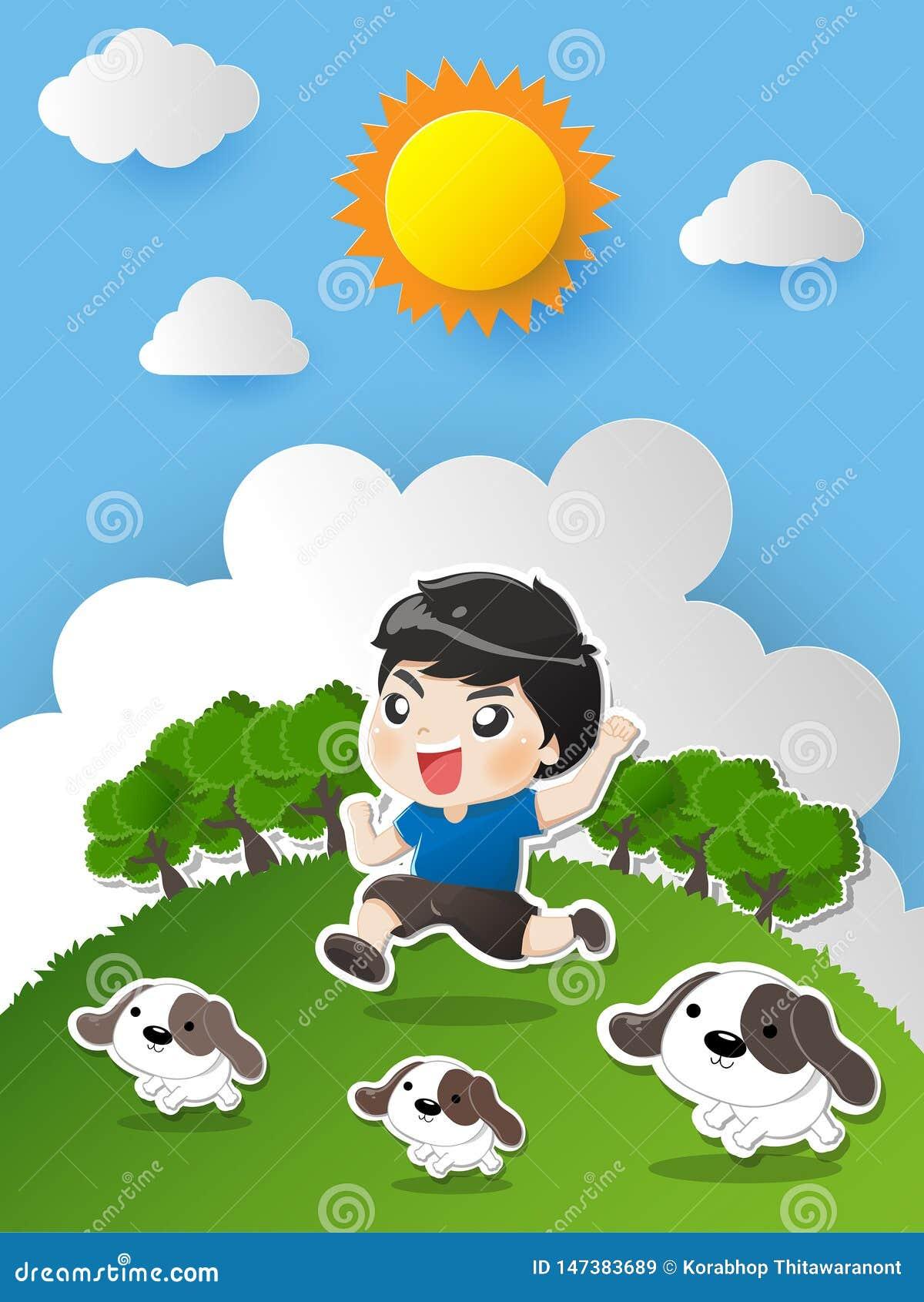 Funzionamento del bambino nel giardino con il cane