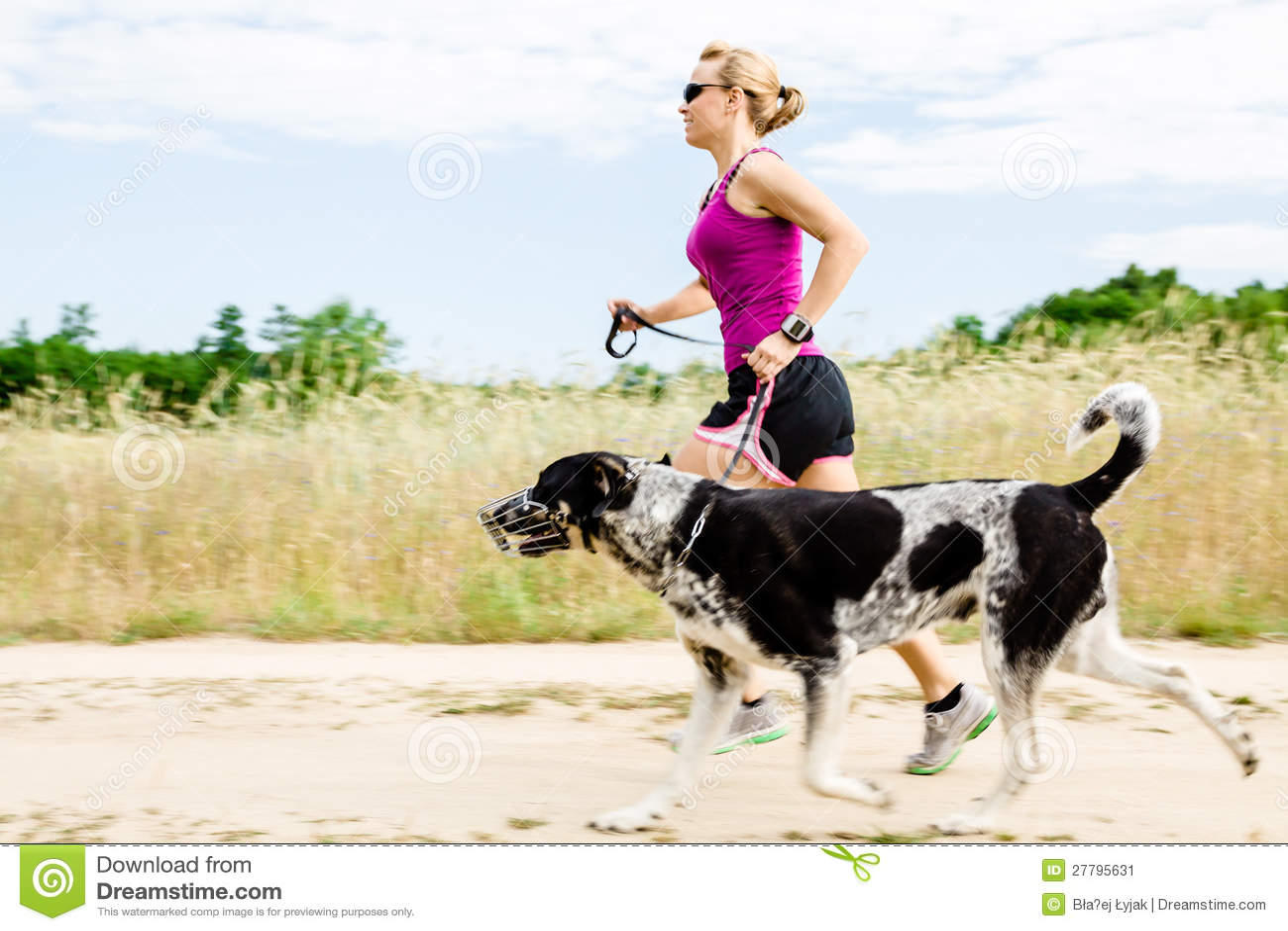 Funzionamento del corridore della donna, cane ambulante in natura di estate