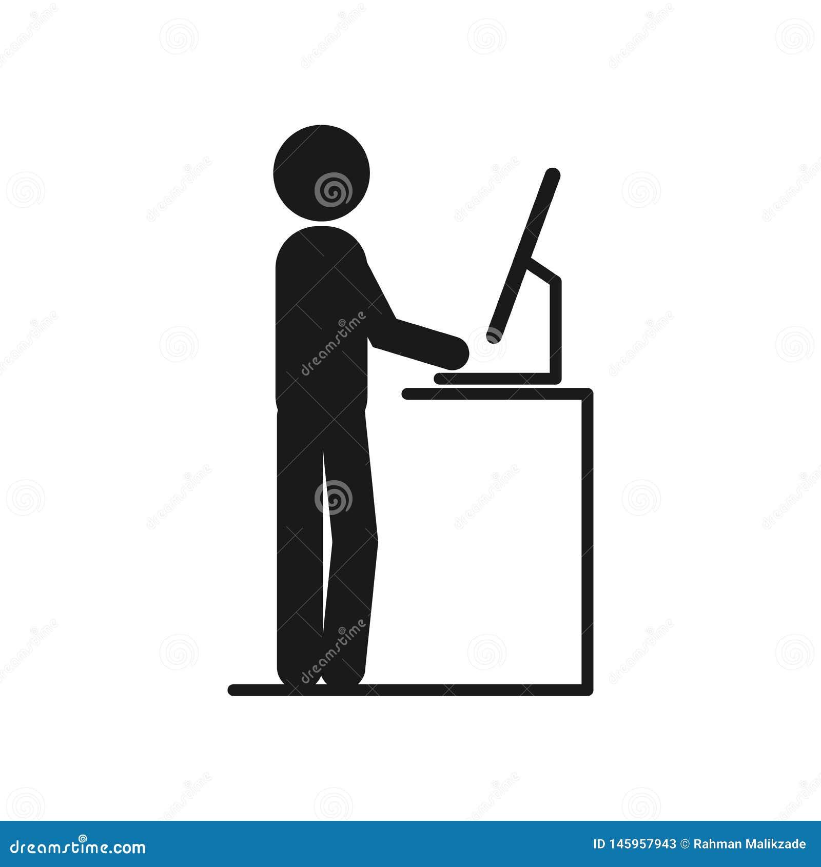 Funzionamento dell uomo allo scrittorio stante di vettore uomo che lavora all ufficio sui computer