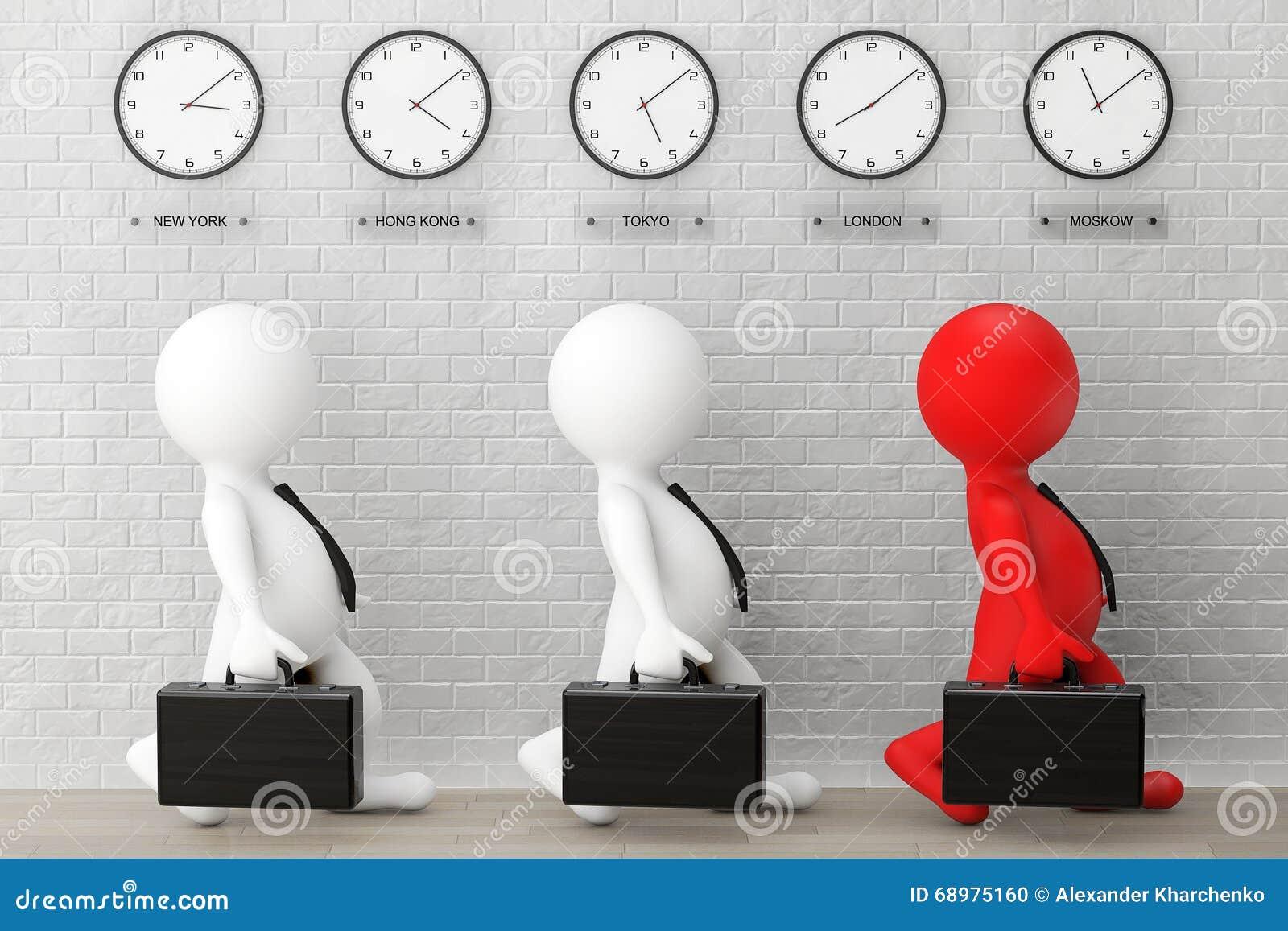 Funzionamento di 3d Businessmans con una cartella davanti alla fascia oraria C