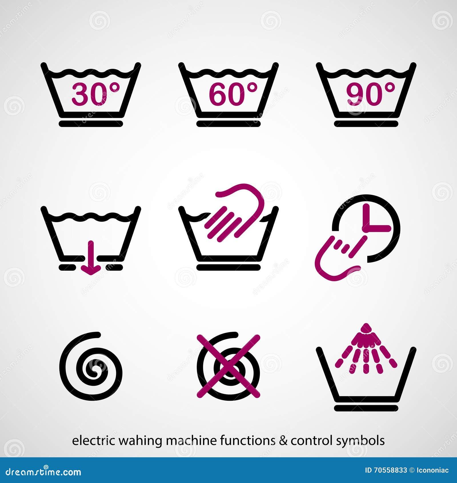 funzioni della lavatrice simboli di controllo elettrici illustrazione vettoriale immagine. Black Bedroom Furniture Sets. Home Design Ideas