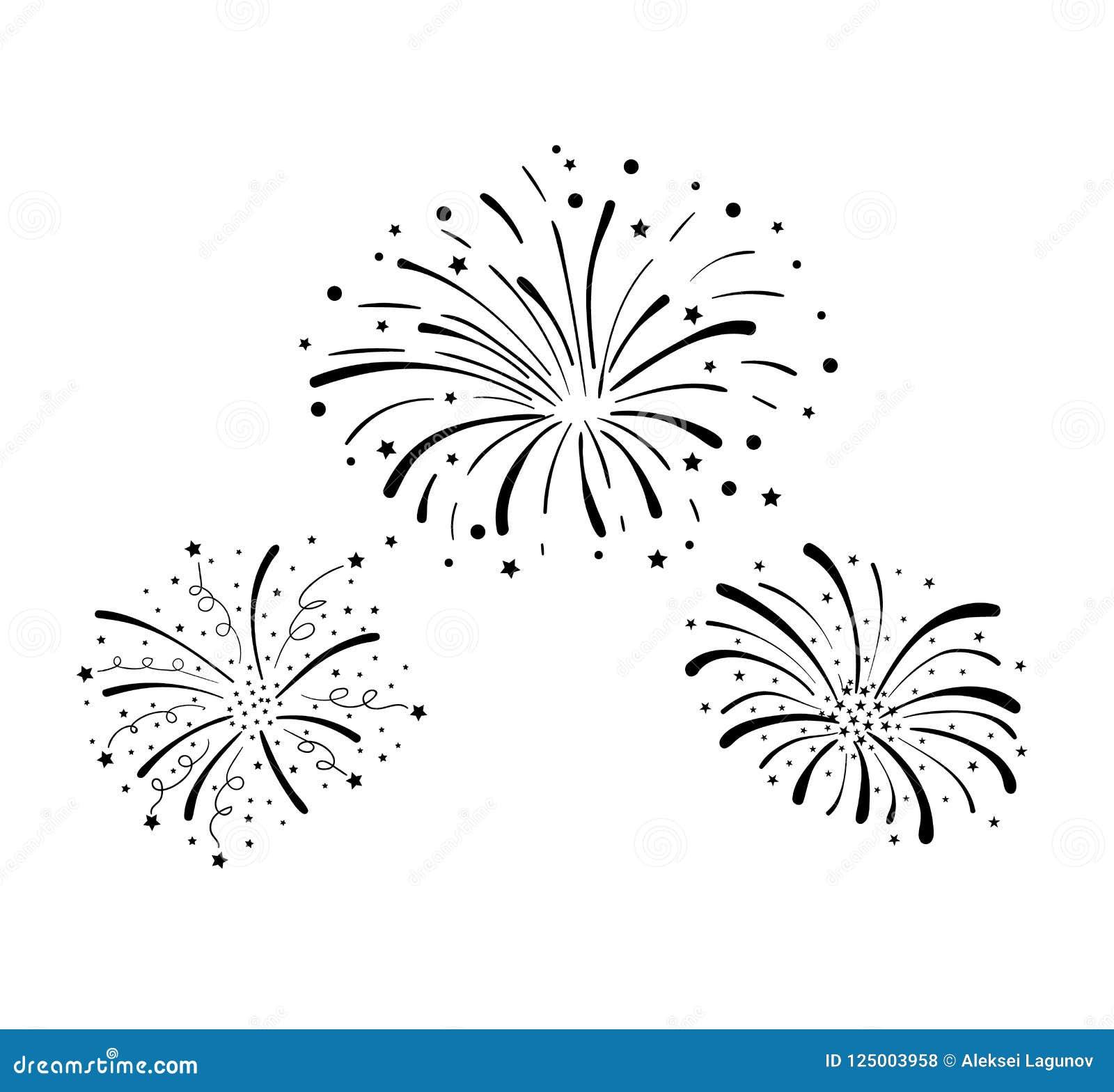 Fuochi d artificio disegnati a mano di scarabocchio di vettore, fondo di celebrazione, elementi neri di progettazione isolati