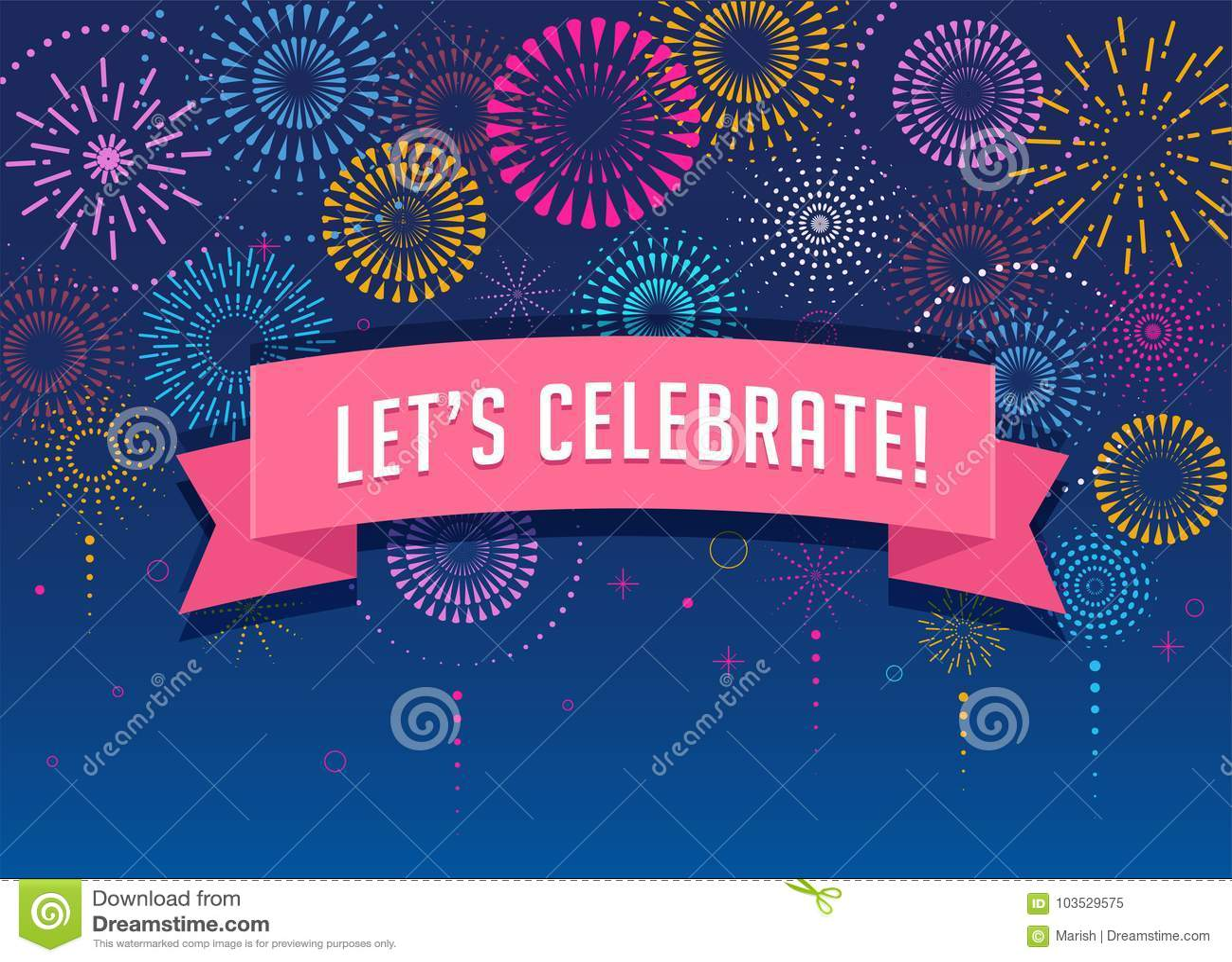 Fuochi d artificio e fondo di celebrazione, vincitore, progettazione del manifesto di vittoria