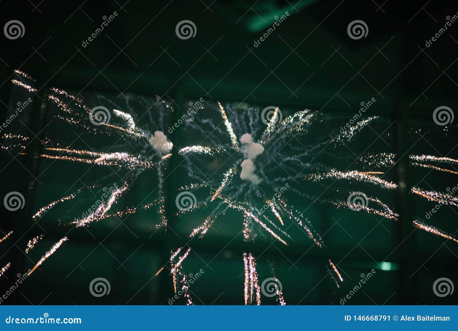 Fuochi d artificio nel cielo notturno Fuochi d artificio multicolori alla notte