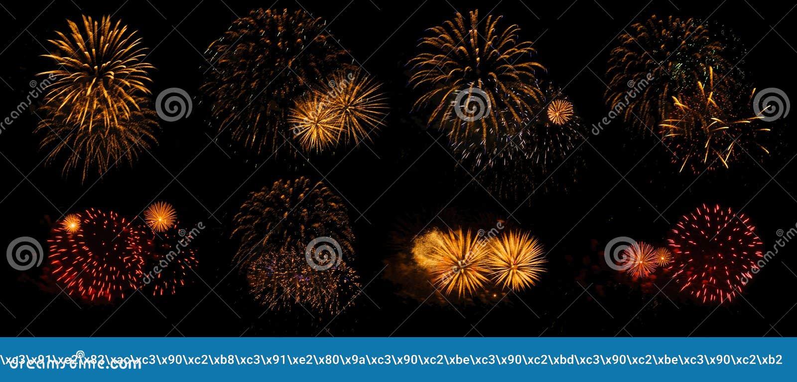 Fuochi d artificio su un fondo nero isolato