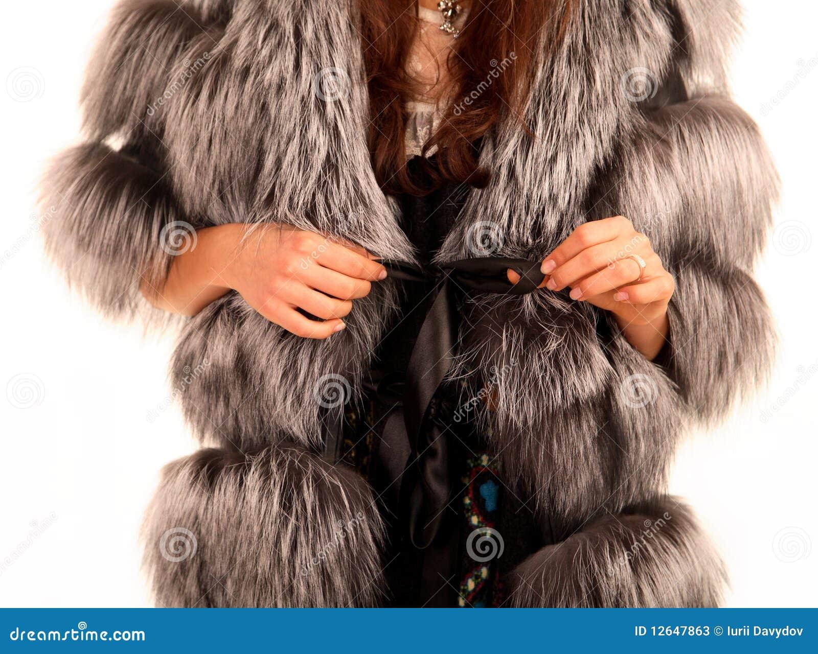 Fur coat on woman