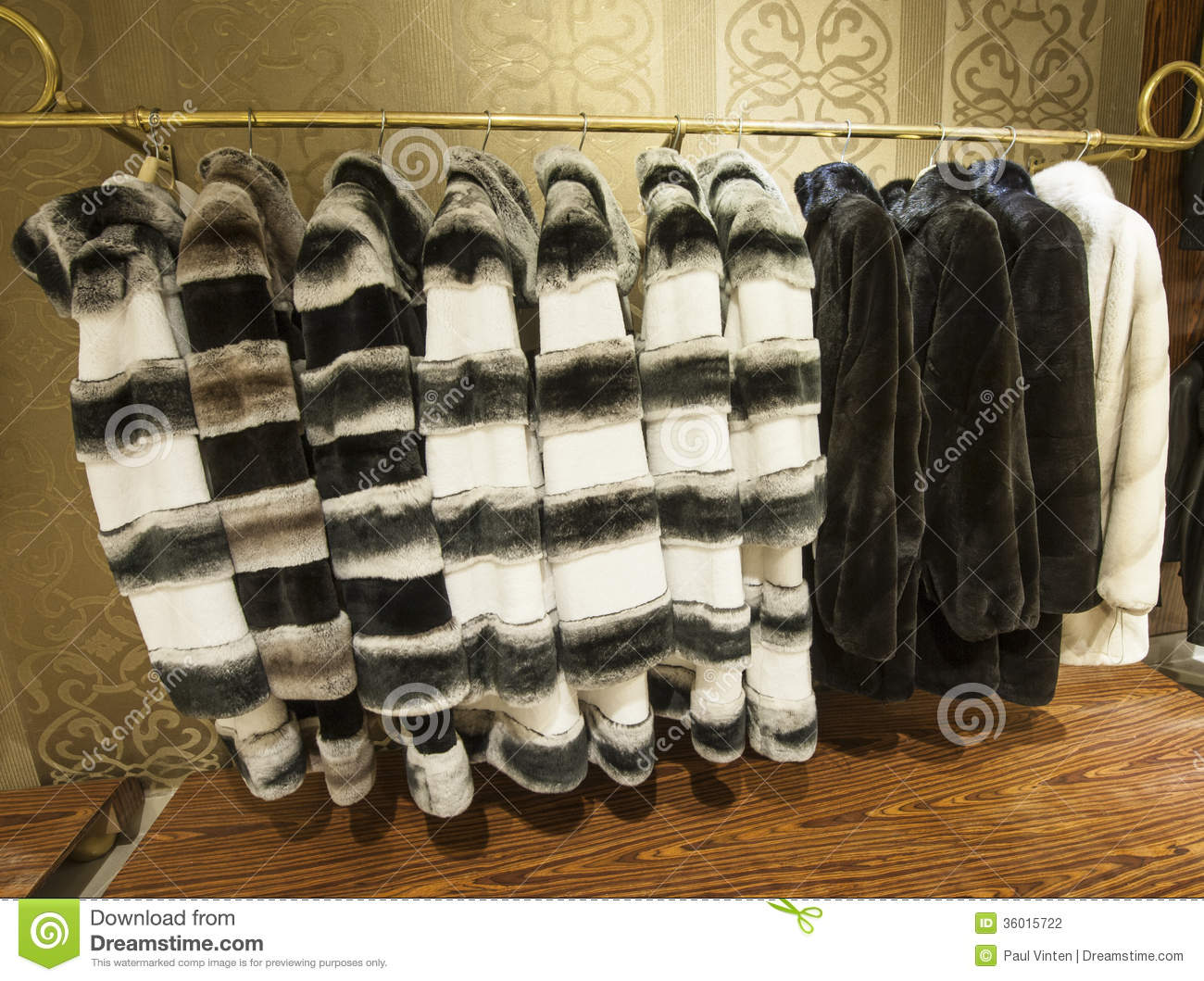 Fur Coats Hanging On A Rail Stock Photography - Image: 36015722