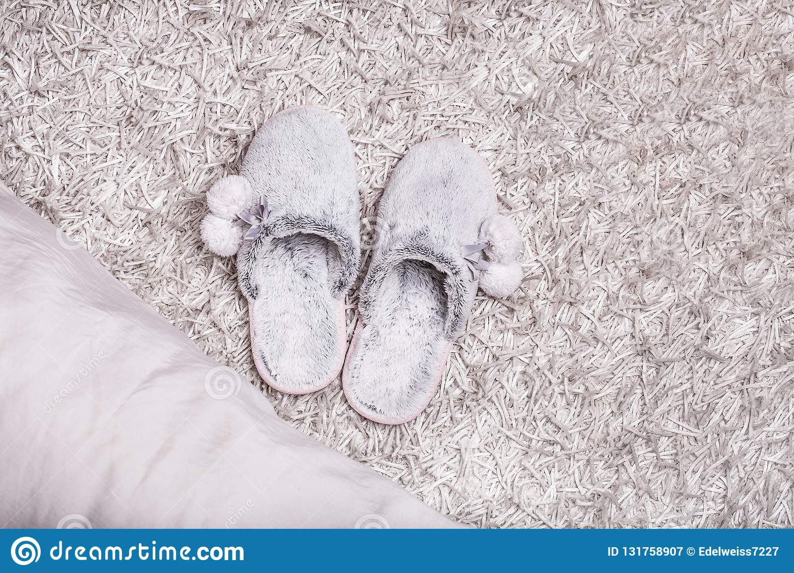 e97b0f0b65e6b Fur slippers on a fluffy carpet near the bed. More similar stock images.  Pair of warm female ...
