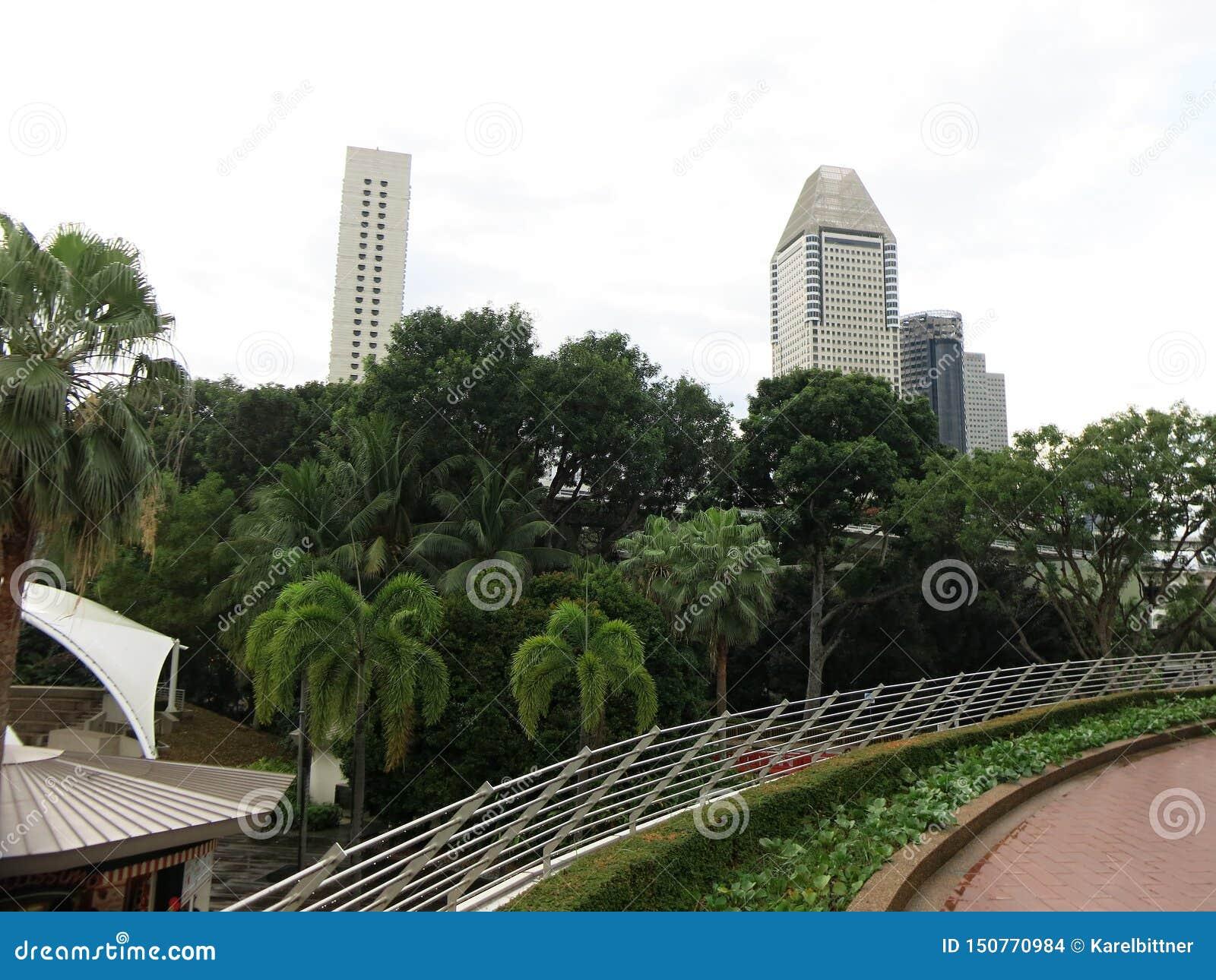 Furama city center. Modern high-rise buildings. Architecture and art in modern civilization.